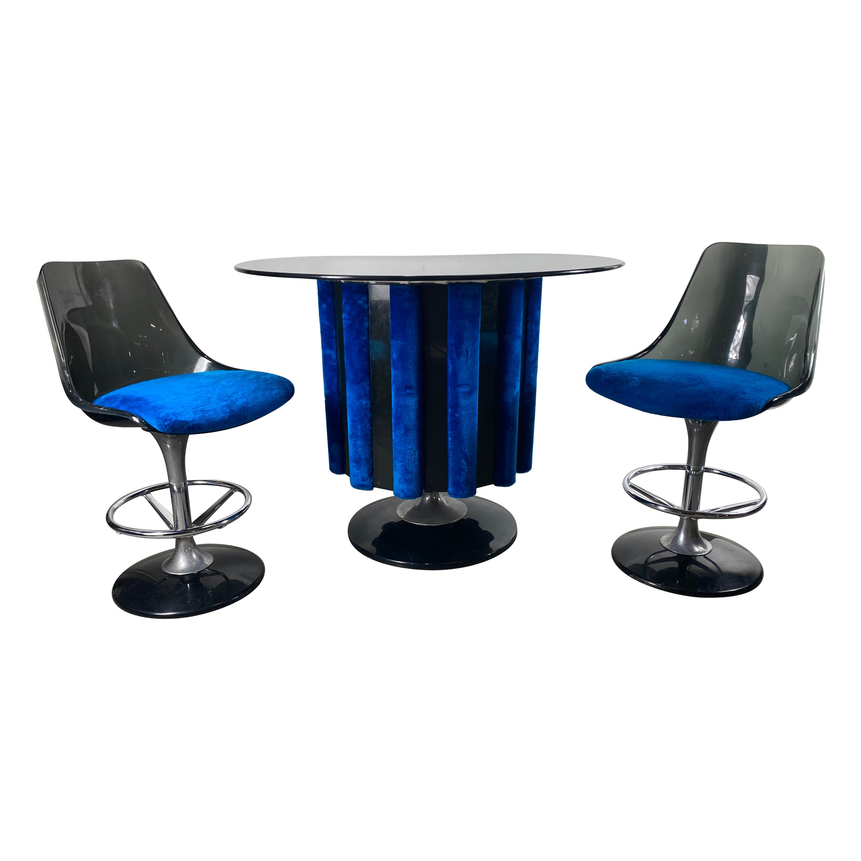 1970s Space Age Three-Piece Pedestal Dry Bar with Two Stools by Chrome Craft