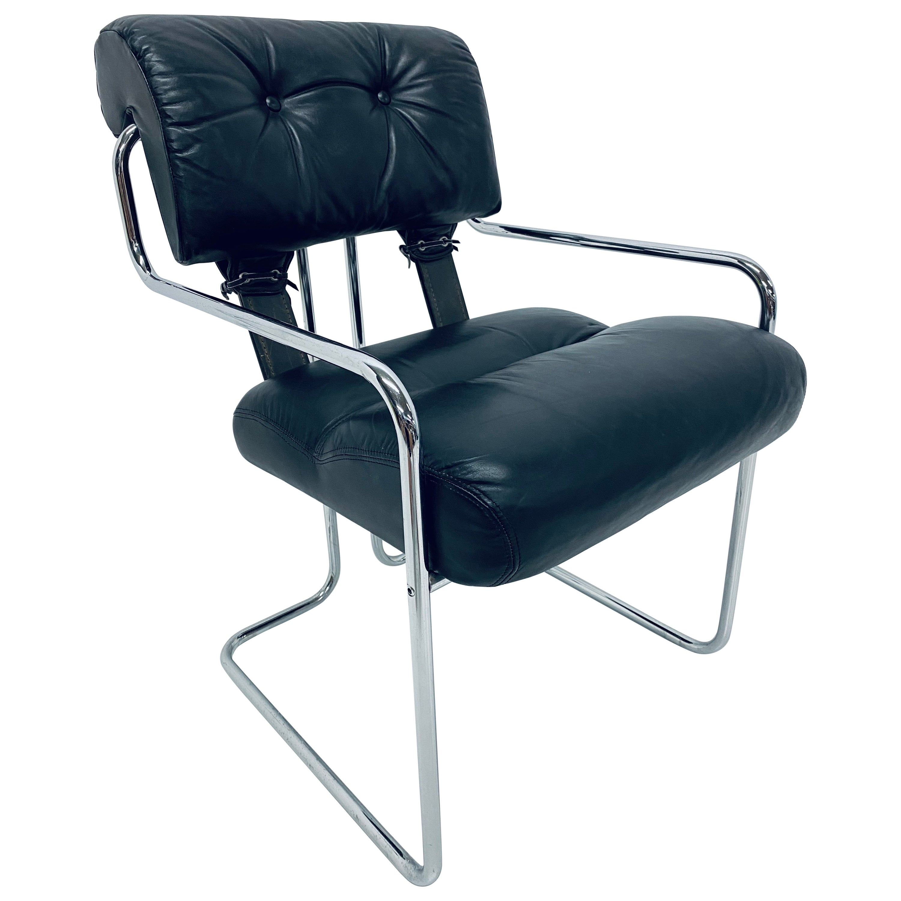 """Guido Faleschini Black Leather """"Tucroma"""" Dining or Desk Chair for Pace"""