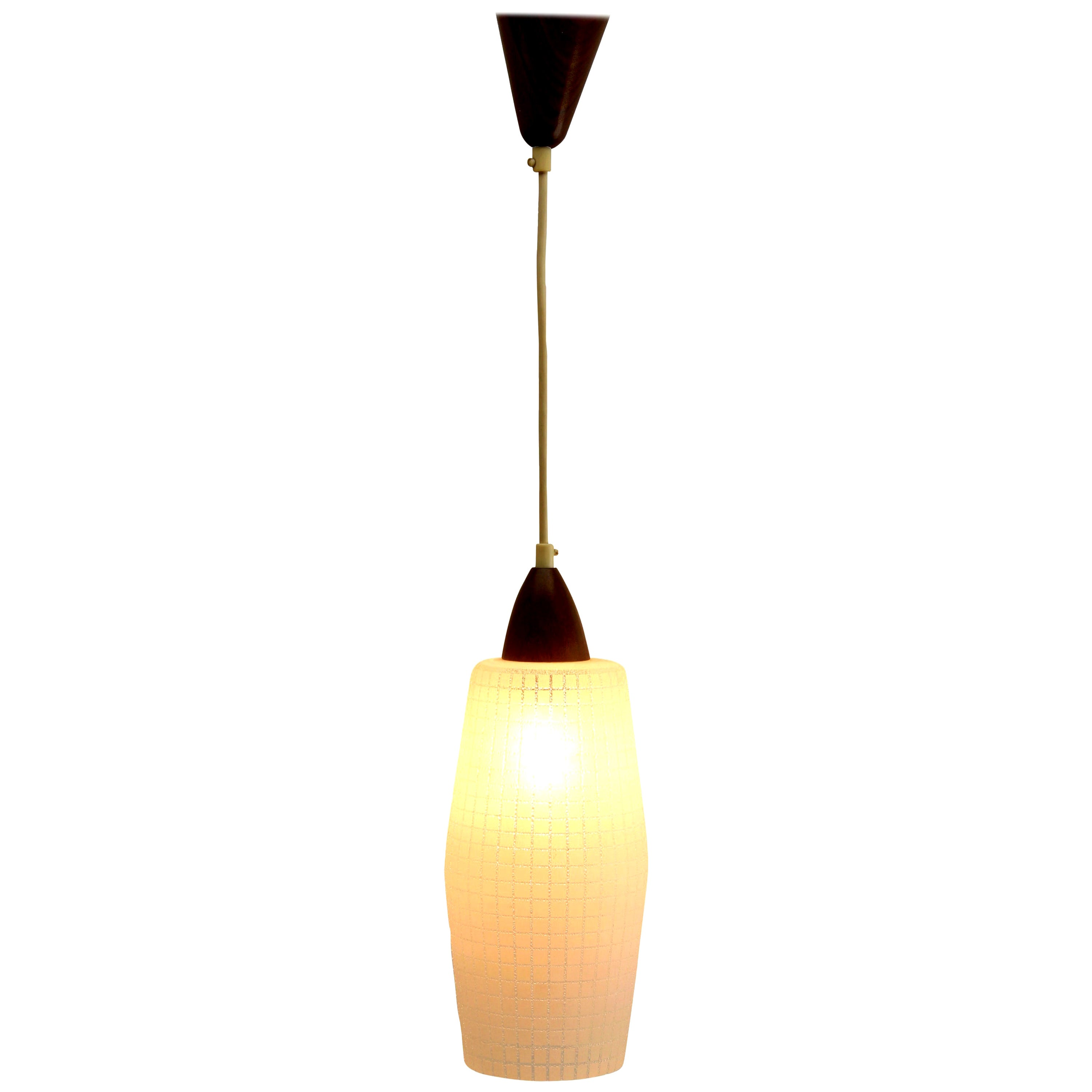 Midcentury Single Pendant Light, Teak with Frosted Optical Shade