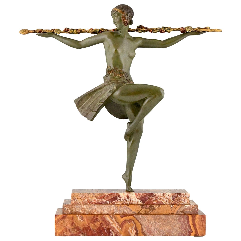 Art Deco Bronze Sculpture Nude Dancer with Thyrsus Pierre Le Faguays, 1930