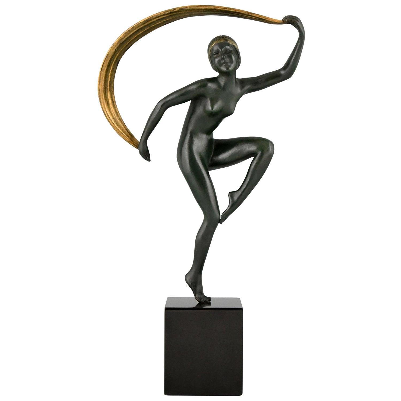 Art Deco Bronze Sculpture Nude Scarf Dancer Zoltan Kovats 1930