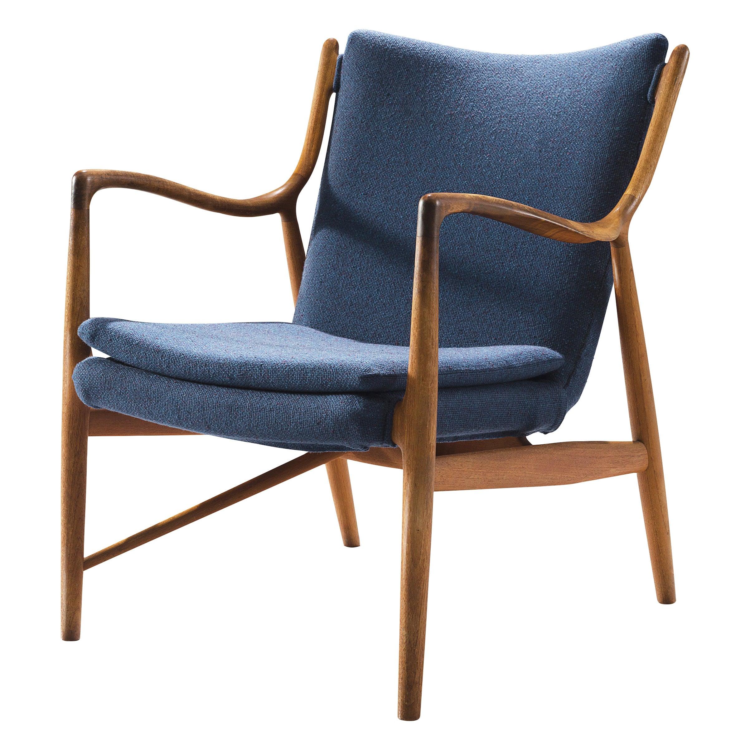Finn Juhl for Niels Vodder Armchair Nv45 in Teak and Blue Fabric Upholstery