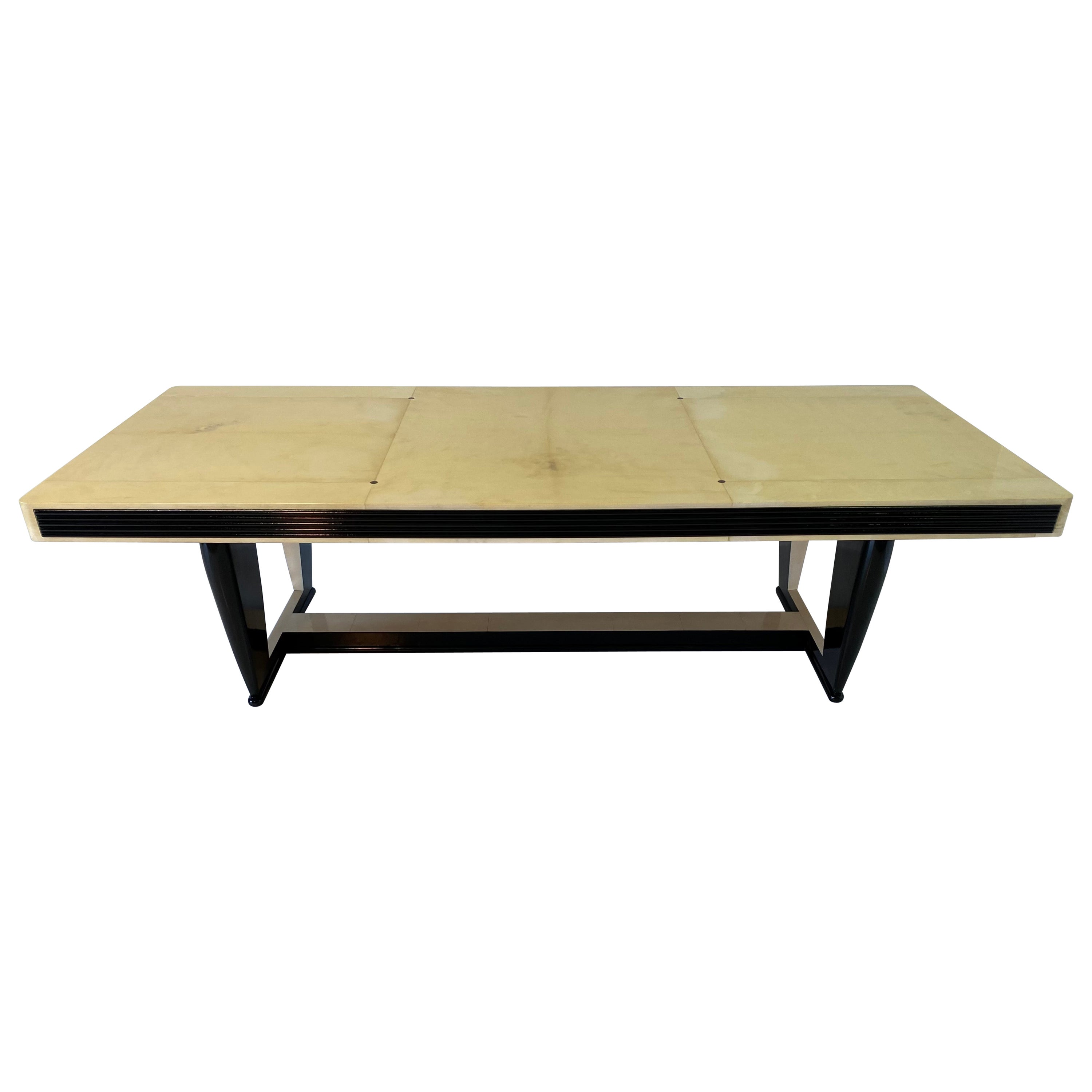 Exclusive Italian Art Deco Parchment Dining Table, 1940s