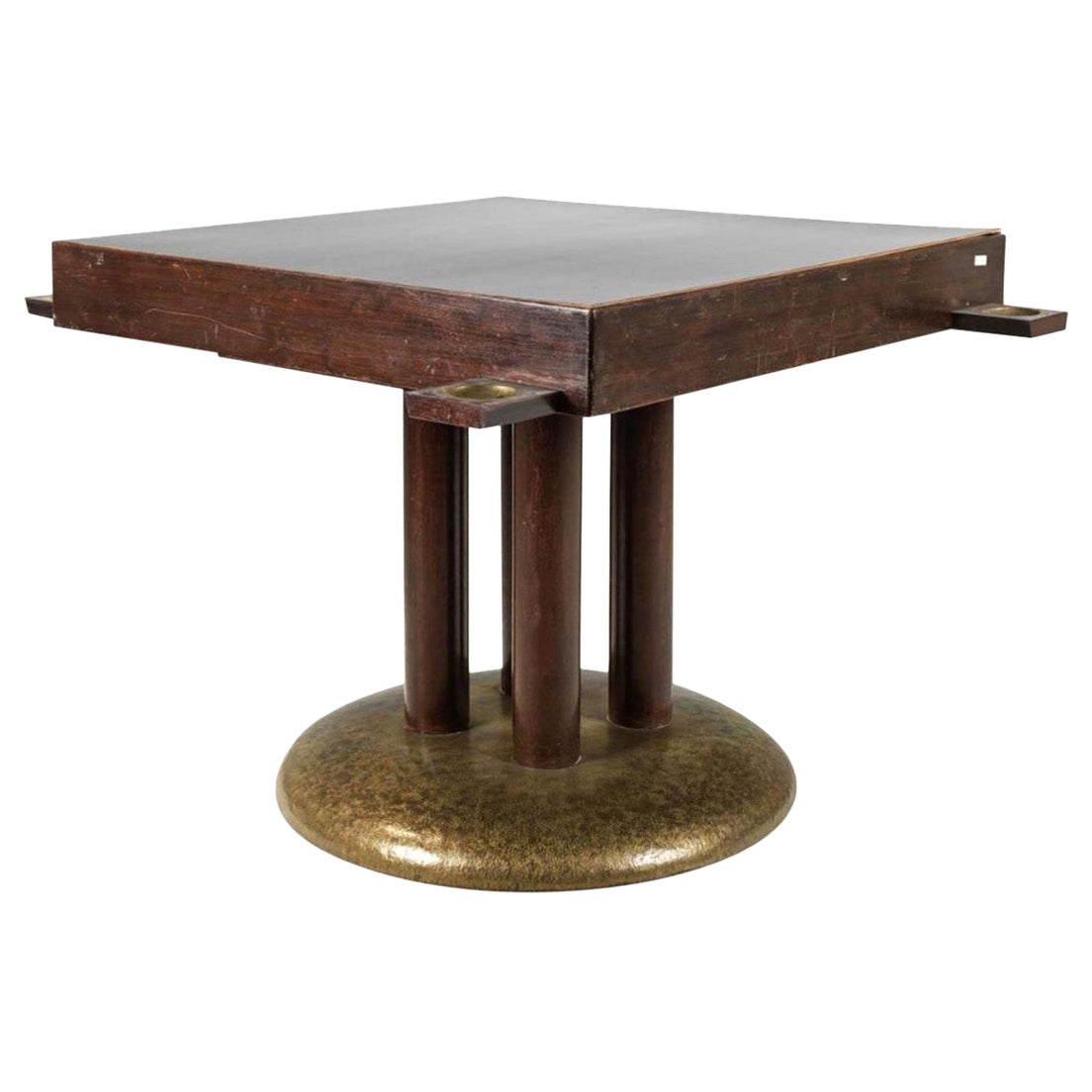 Original Gambling Table in the Style of Adolf Loos 1910 with Brass Chip-Bowls