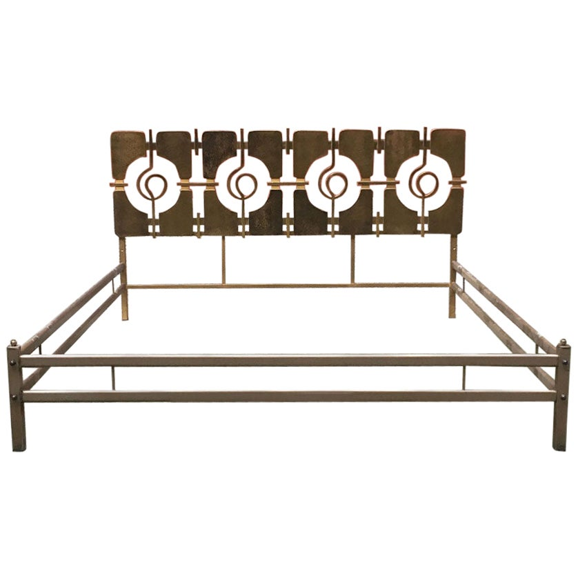 Italian Mid-Century Modern Brass Double Bed with Decorative Headboard, 1960s