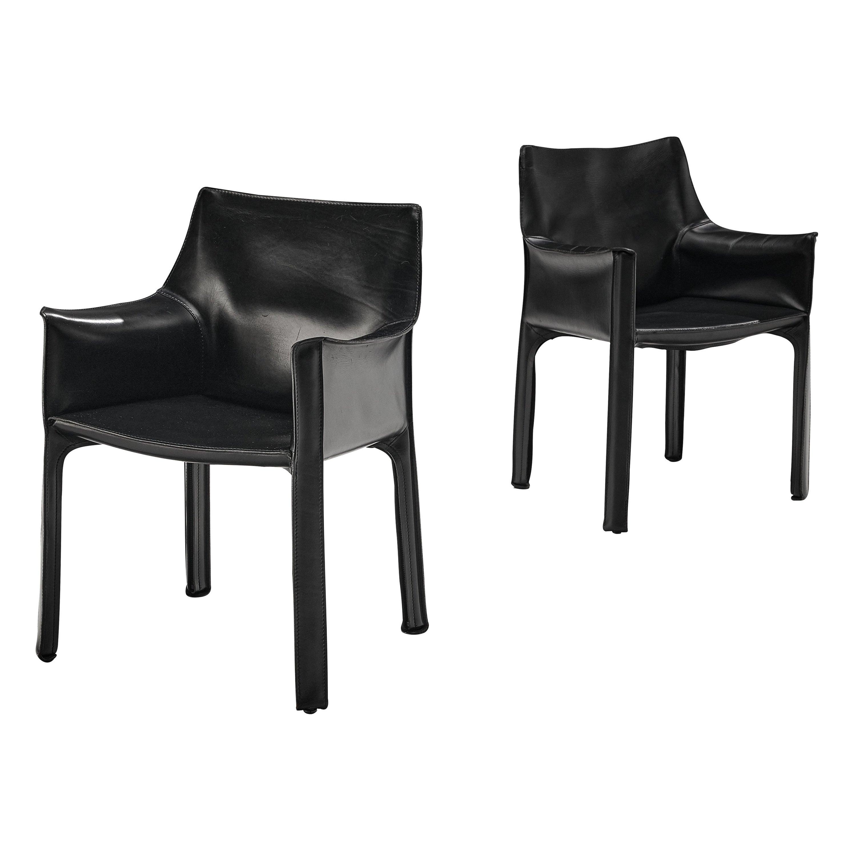 Mario Bellini Pair of Armchairs 'CAB 413' in Black Leather