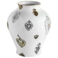 Ex Voto, Contemporary Porcelain Vase with Decorative Design by Vito Nesta