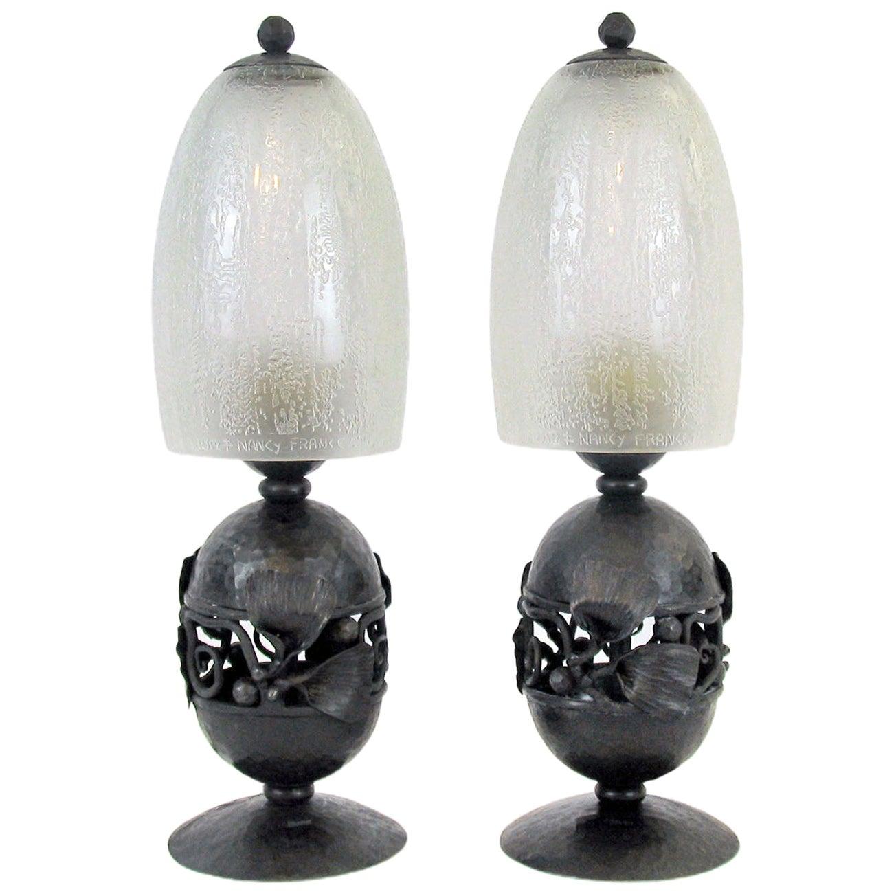 Art Deco Edgar Brandt and Daum Freres, Pair of Table Lamps