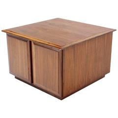 Cube Shape Walnut End or Side Table with Cabinet