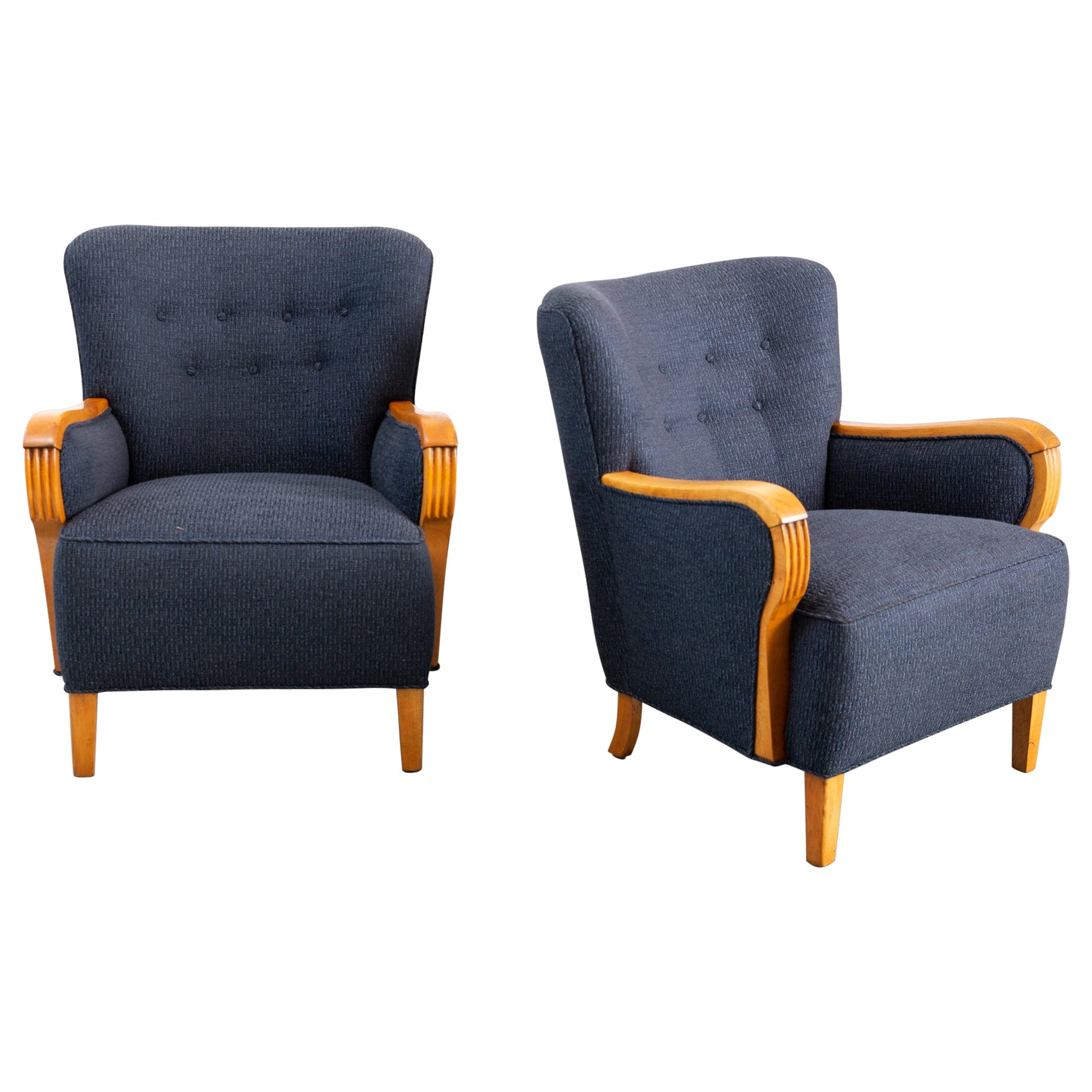 Pair of Newly Upholstered Mid-Century Modern 1940s Armchairs