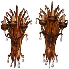 Gilt Metal Palm Sconces with Crystal Drops