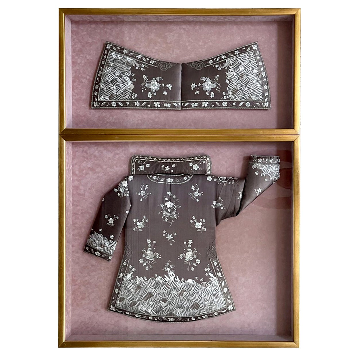 Framed Antique Two-Piece Chinese Embroidery Winter Jacket Ensemble
