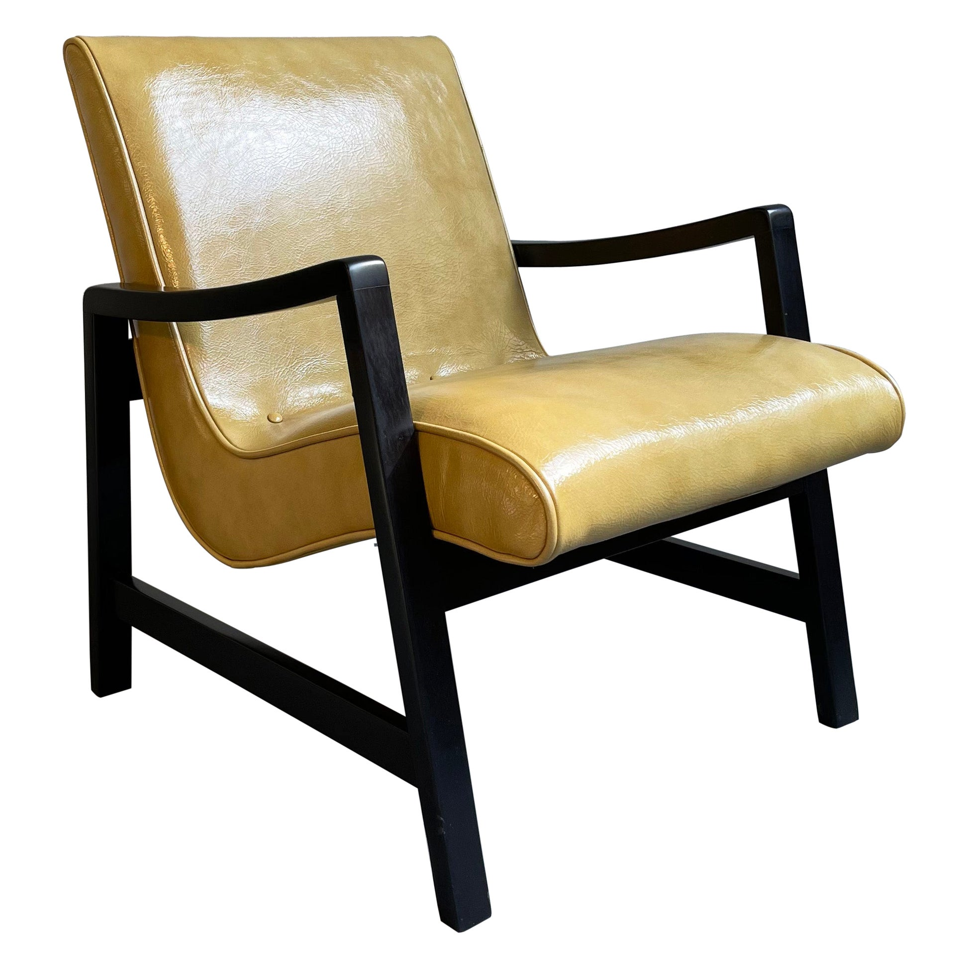 Mid-Century Modern Scoop Leather Lounge Chair by Jens Risom