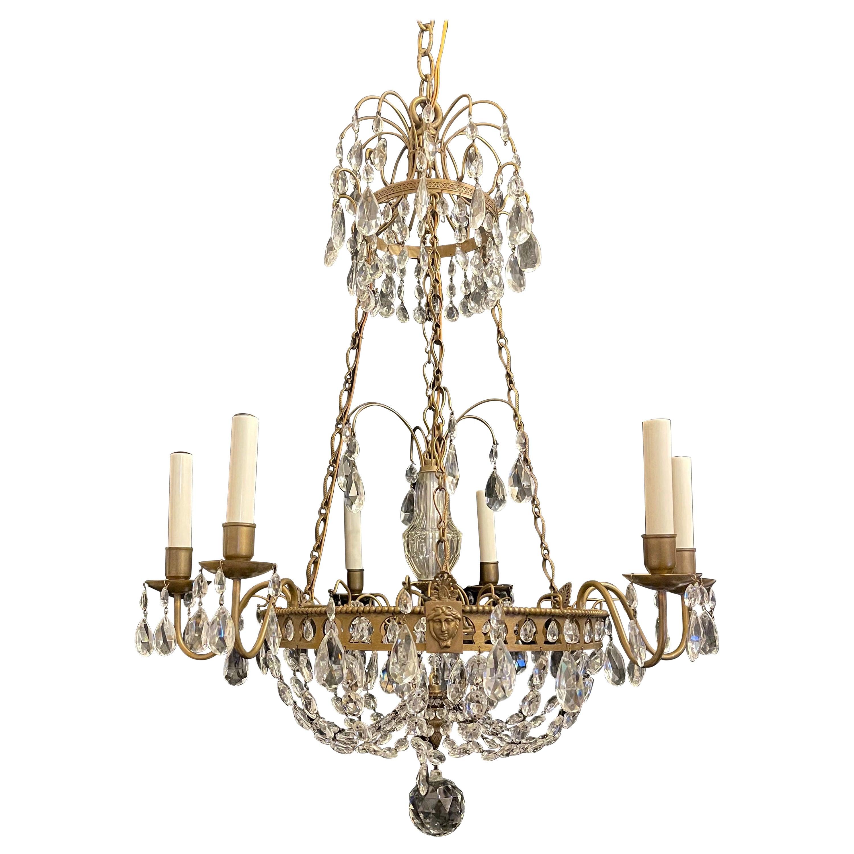Wonderful French Empire Neoclassical Regency Bronze Crystal Basket Chandelier