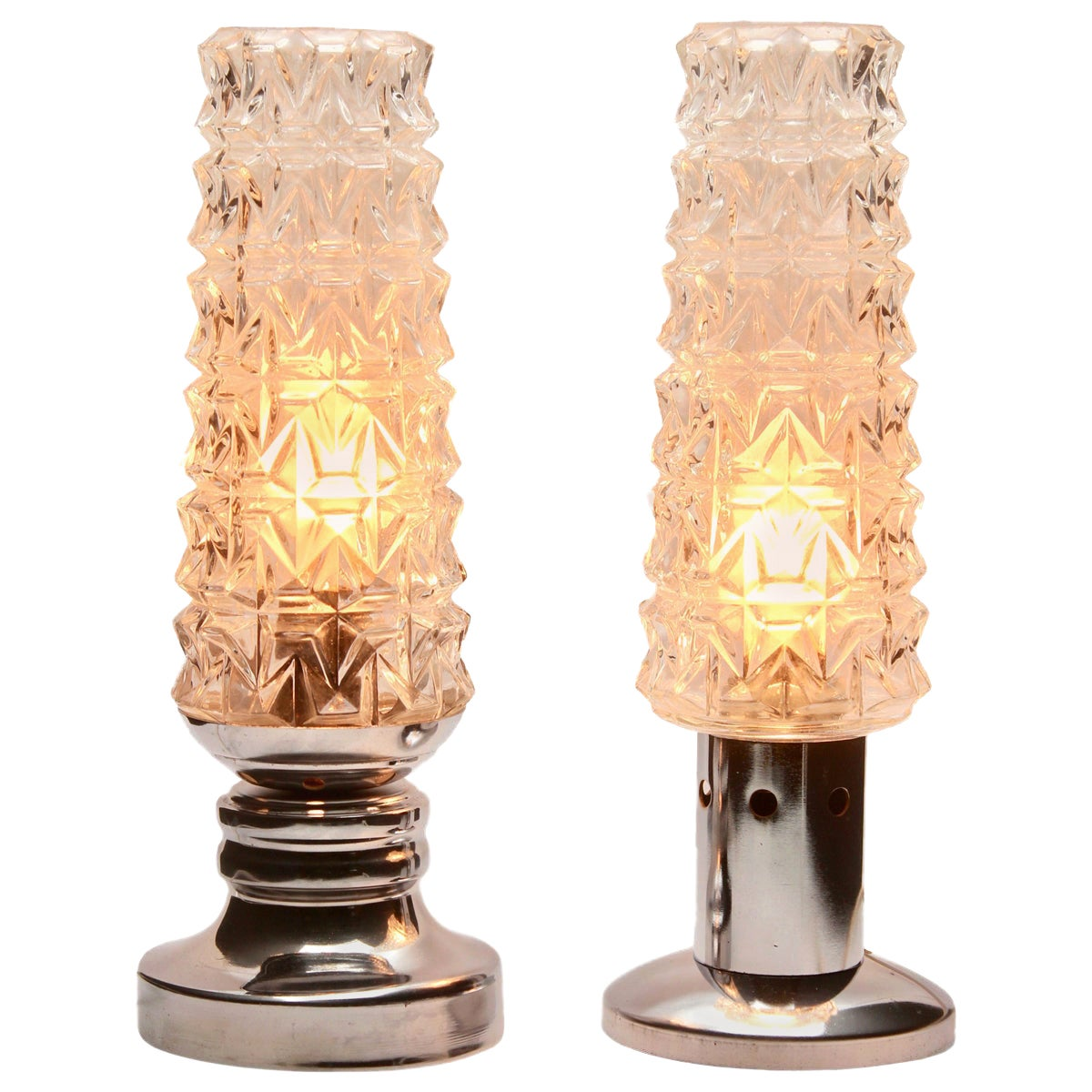 Chrome Bubble Table Lamp or Desk, Set of 2 Midcentury, 1960s