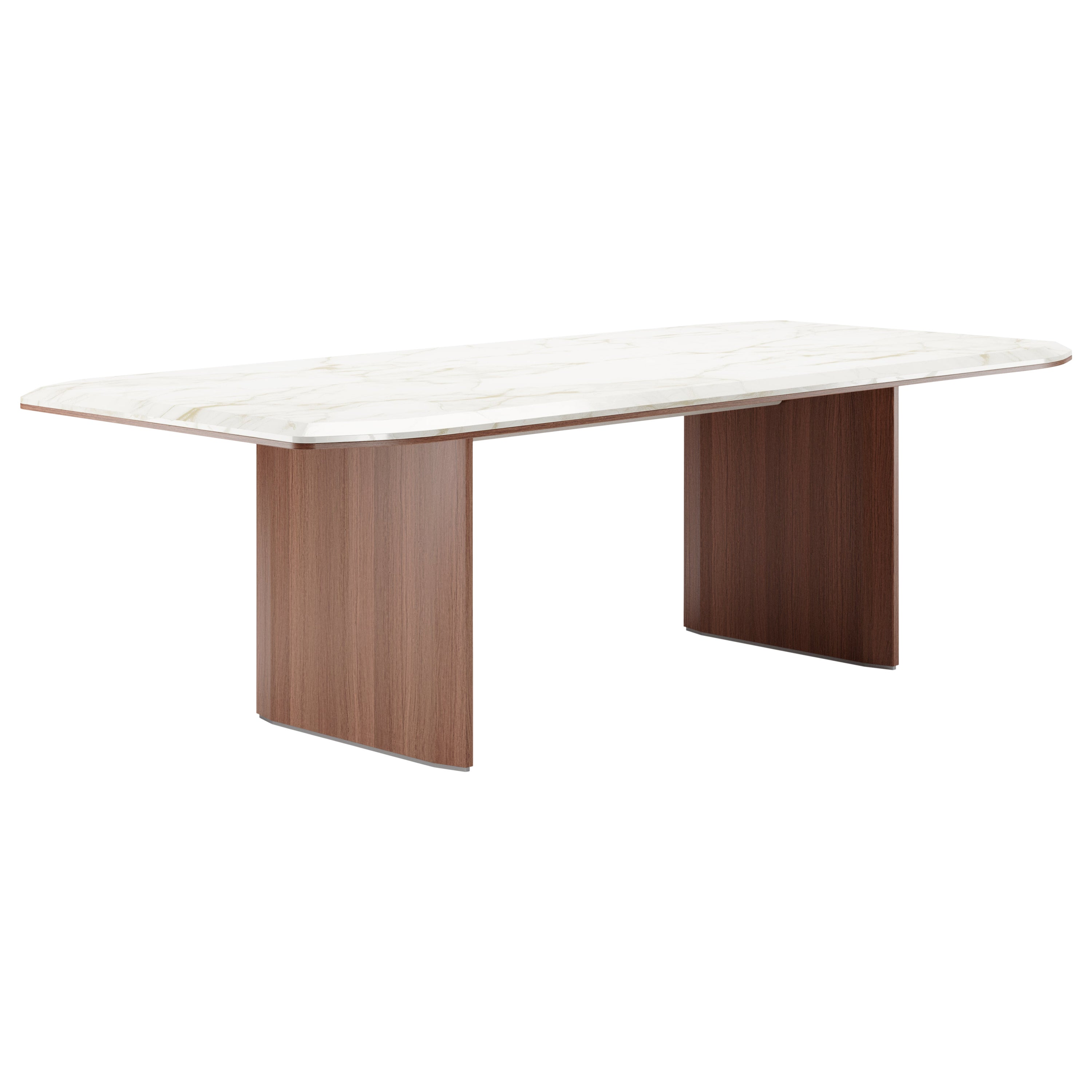 Contemporary Dining Table by Fabio Arcaini Marble Wood Lacquered