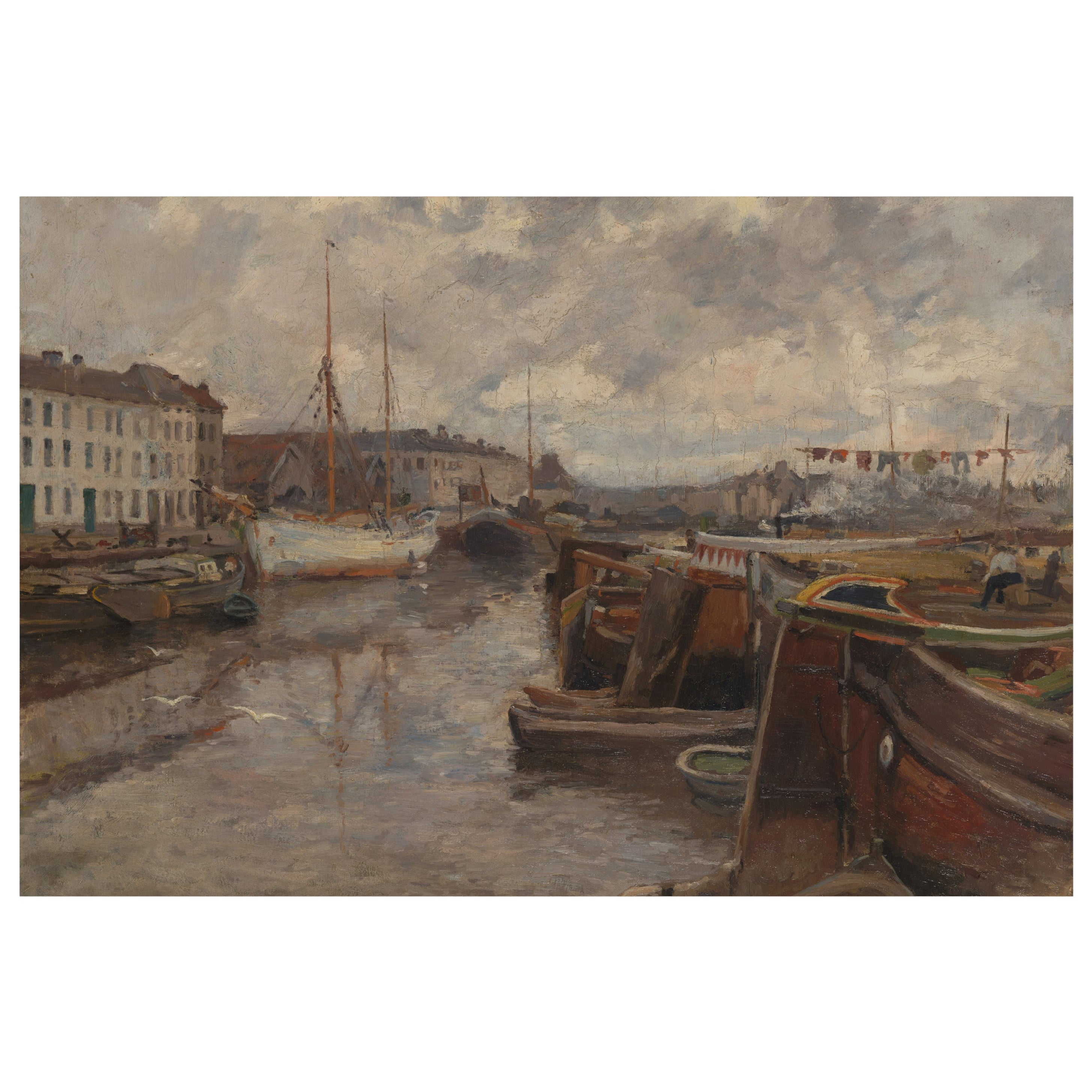 Gaston Haustraete, Harbor View, Oil on Canvas, Framed and Signed