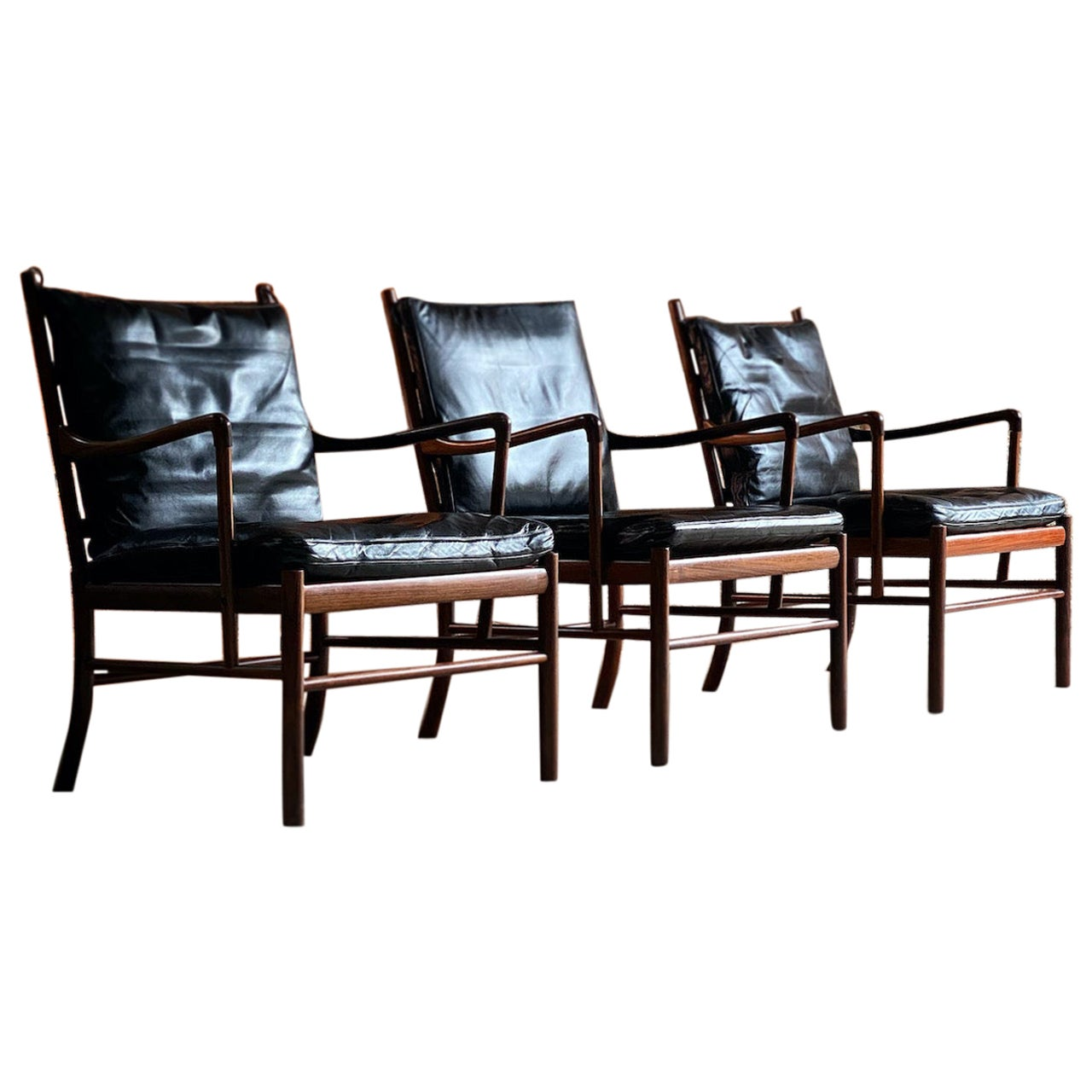 Ole Wanscher Model 149 Rosewood Colonial Chairs by Poul Jeppesens, circa 1950