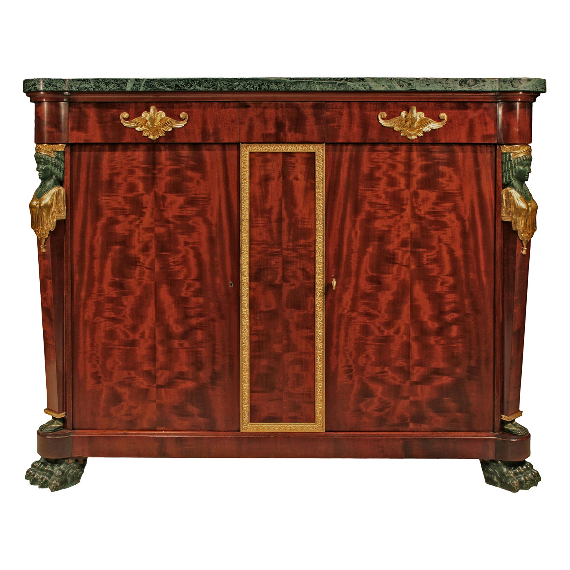 Italian 19th Century Neoclassical Style Mahogany, Bronze and Ormolu Buffet