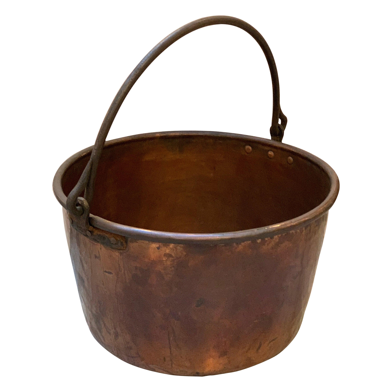 Large 19th Century Copper Cauldron Pot