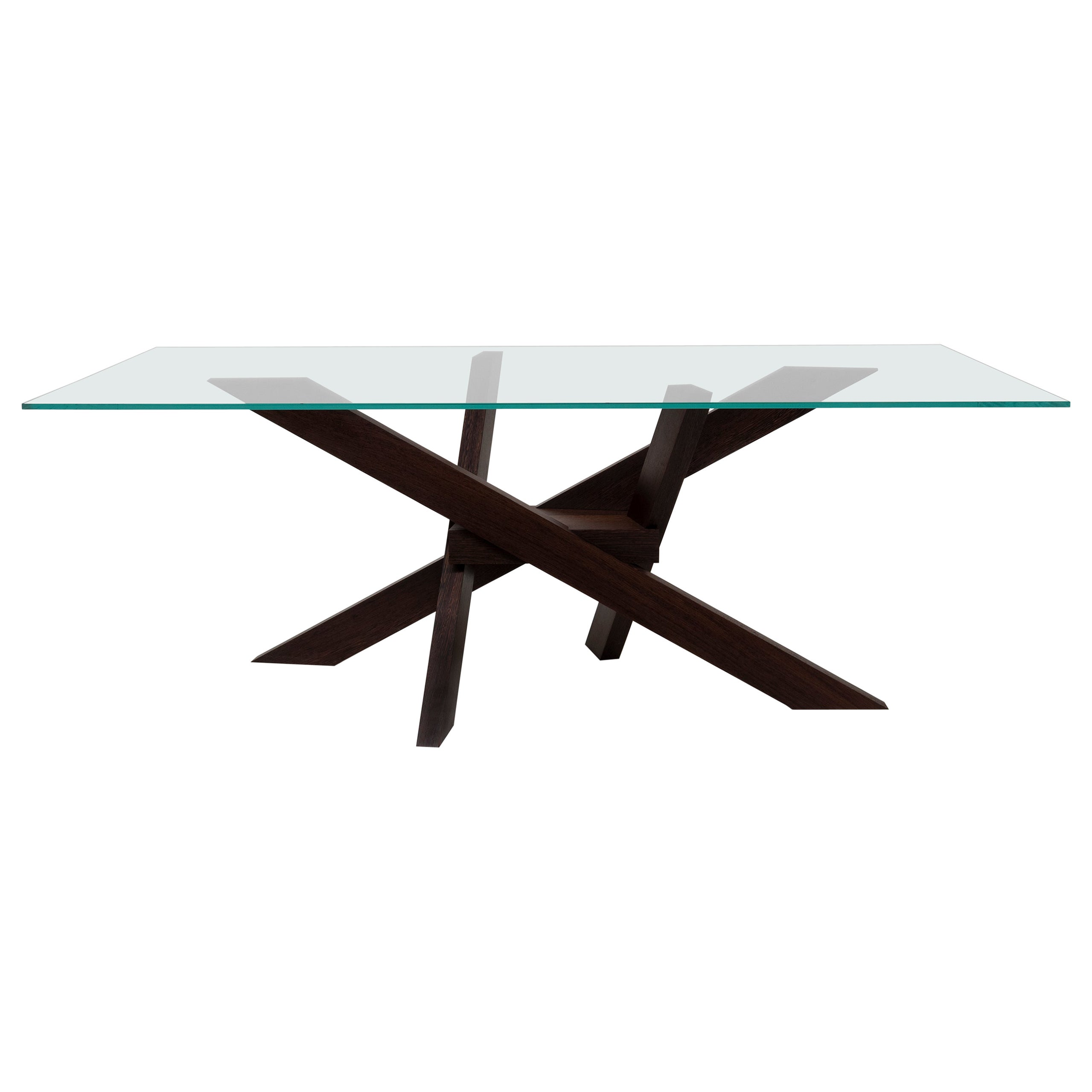 Illusion Table with legs in wenge solid wood and glass top