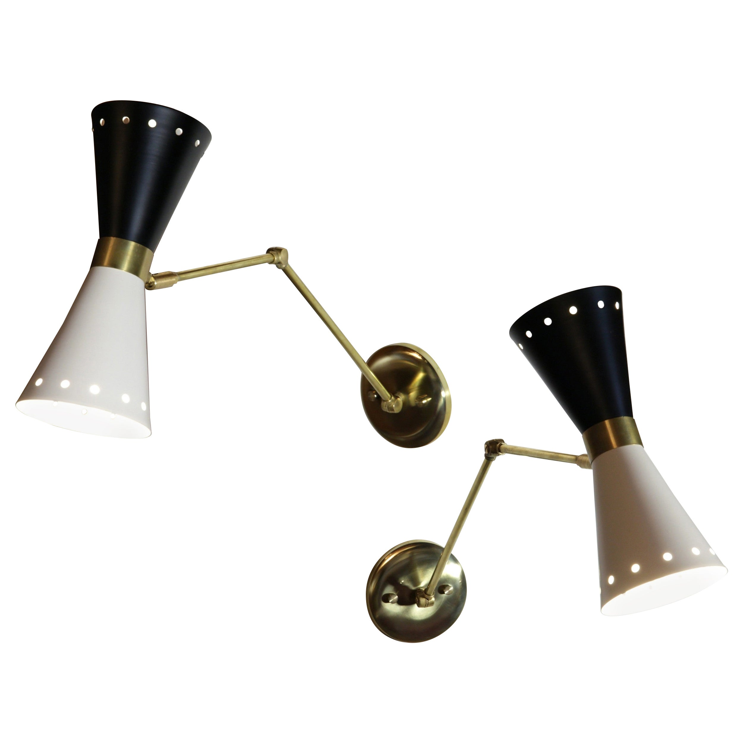 Cono Articulated Sconce Midcentury Stilnovo Style Solid Brass Black White Shade