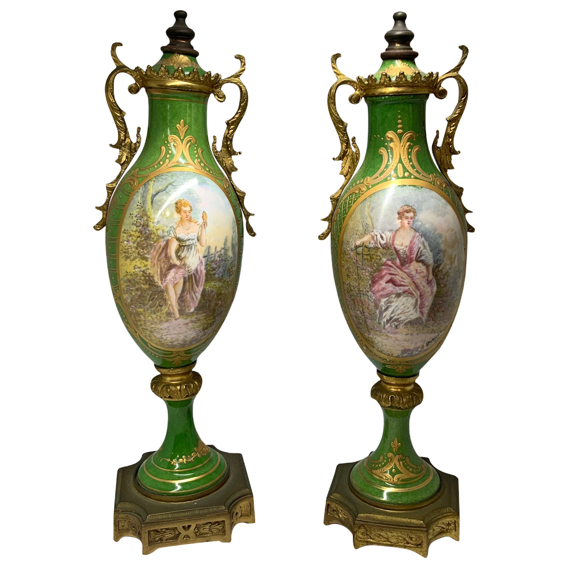 Pair of French Sevres Style Porcelain Bronze Mounted Urns Vases