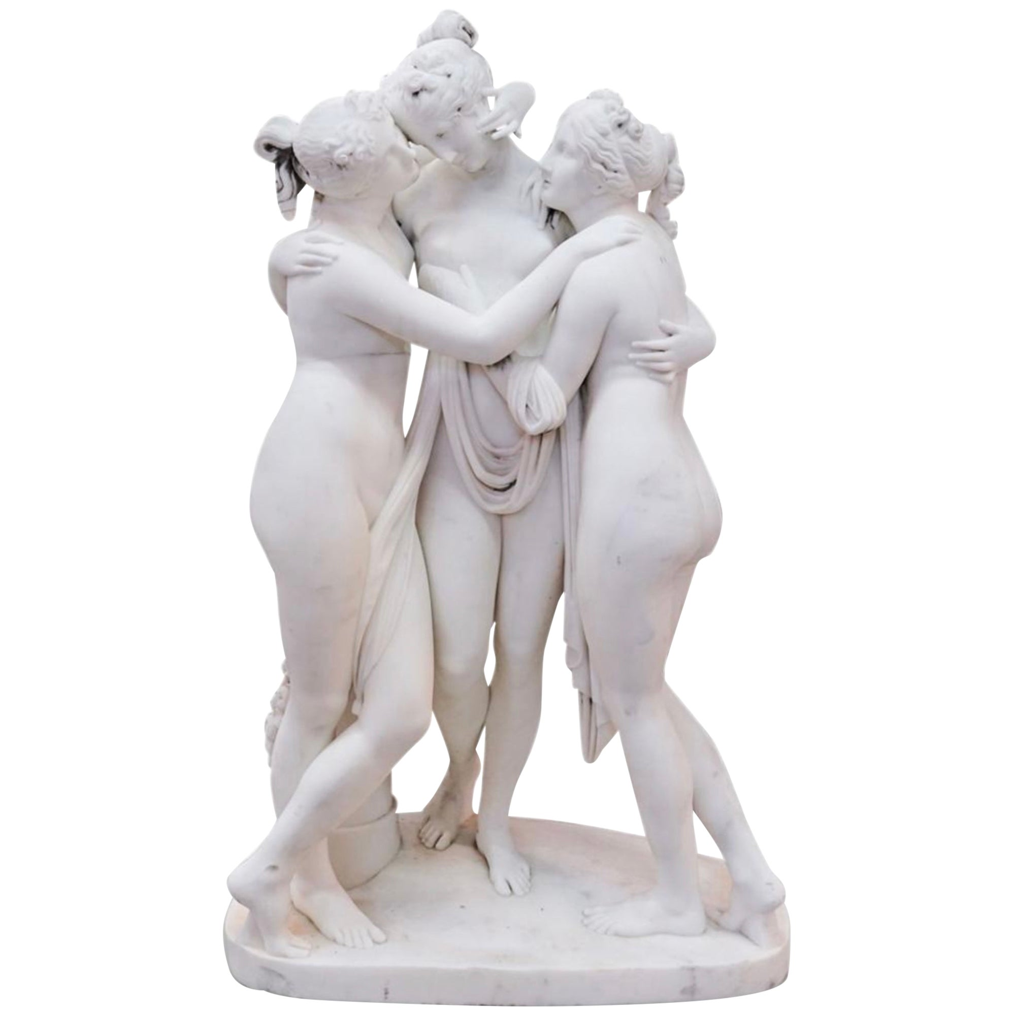 19th Century Neoclassical Marble Sculpture of the Three Graces after Canova