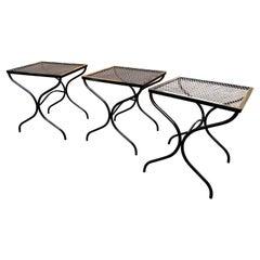Woodard Patio Iron Tables/ Set of 3 Newly Powder-Coated