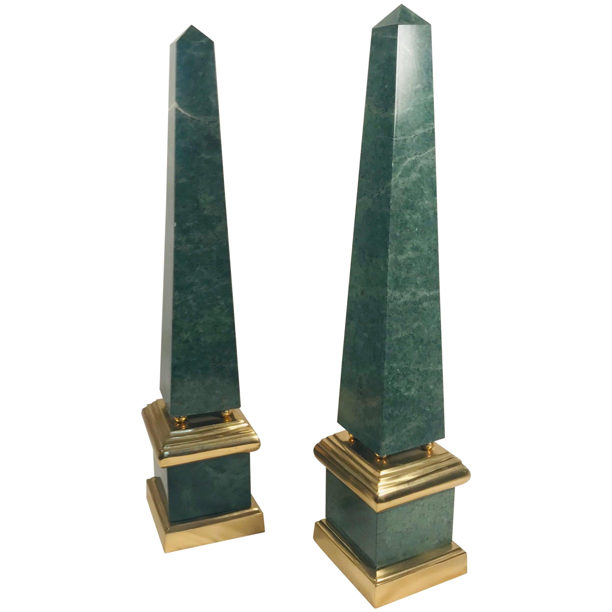 Pair of Vintage Large Green Obelisks, Brass Mounted
