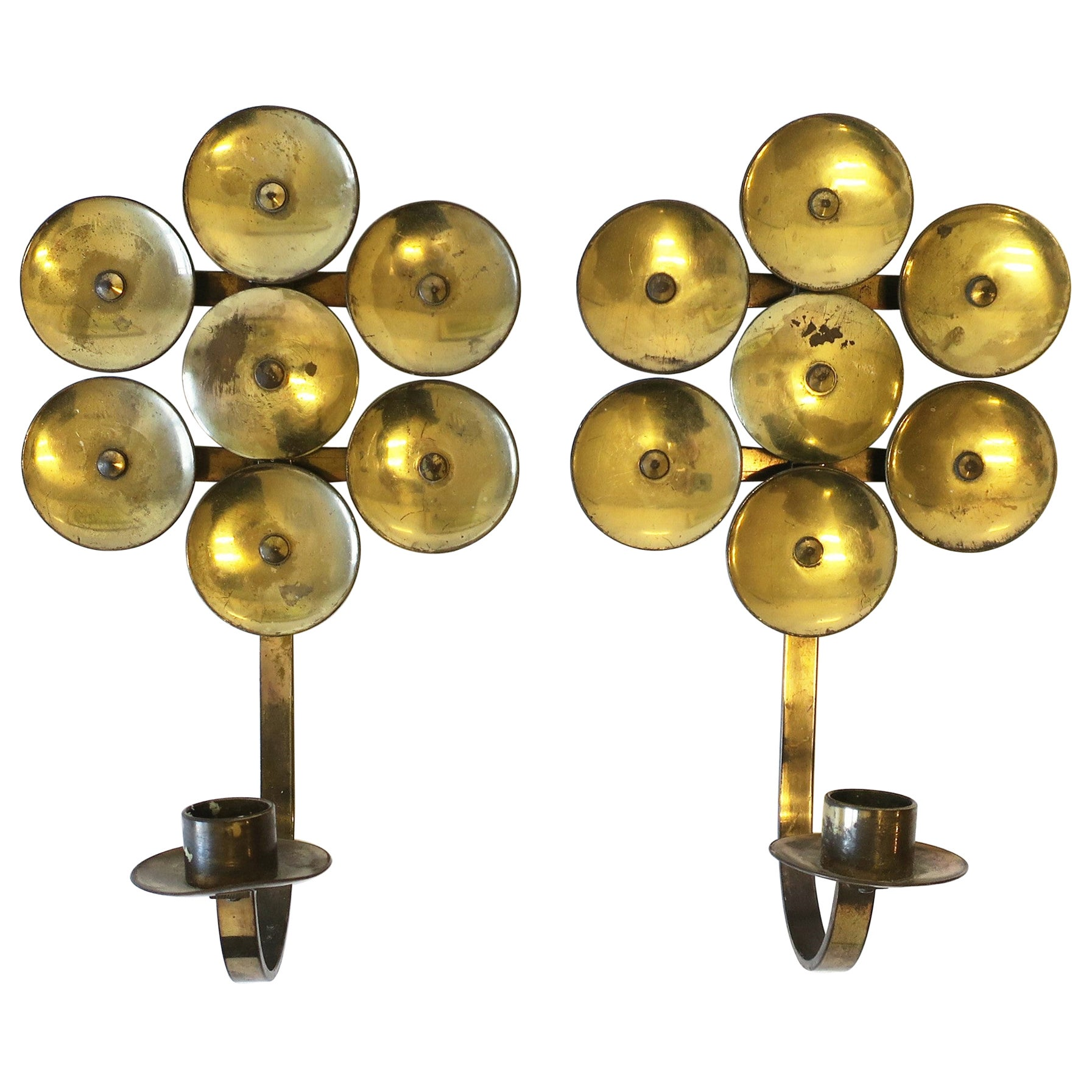 Scandinavian Modern Swedish Brass Wall Candle Sconces, Pair