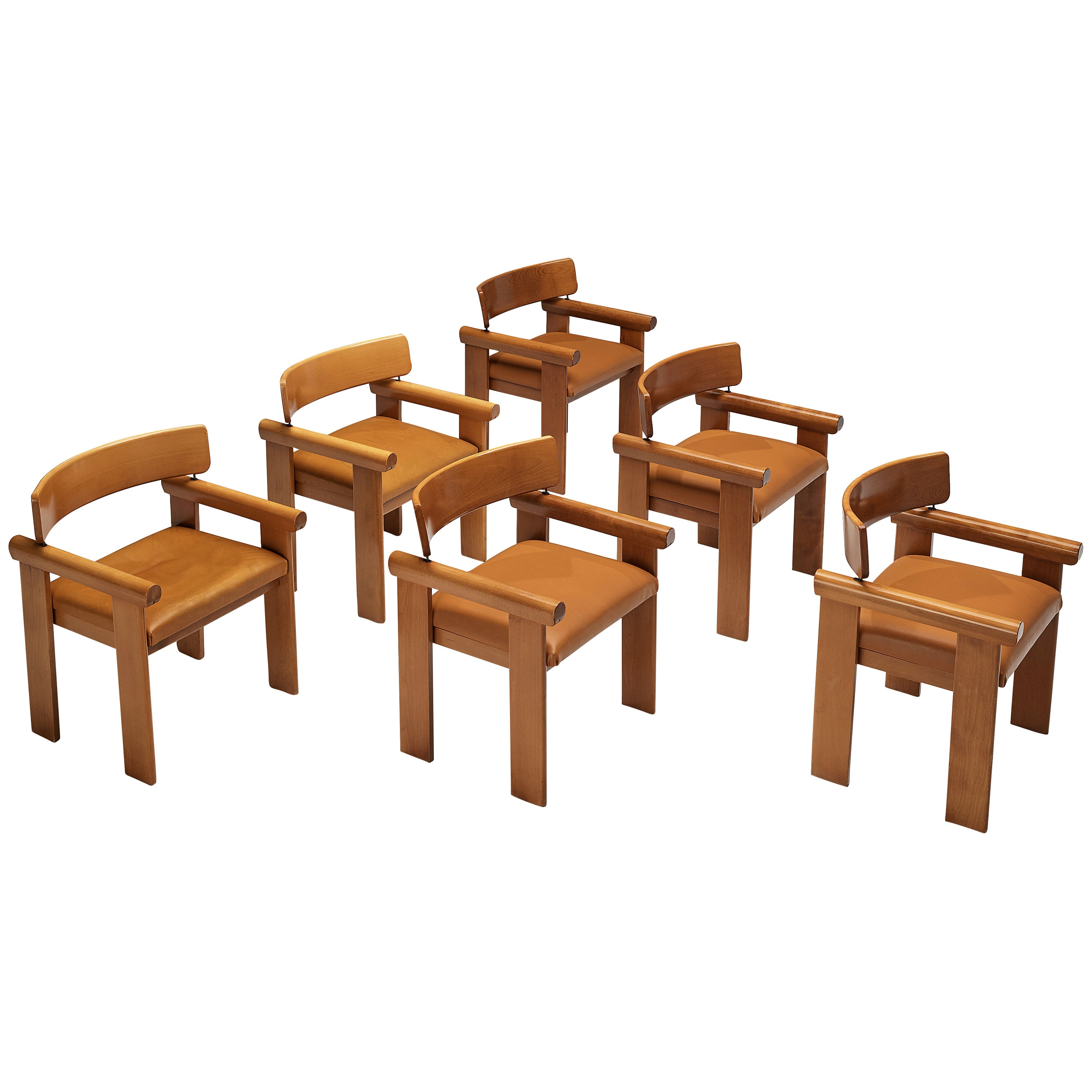 Italian Set of 6 Architectural Armchairs in Beech and Cognac Leather