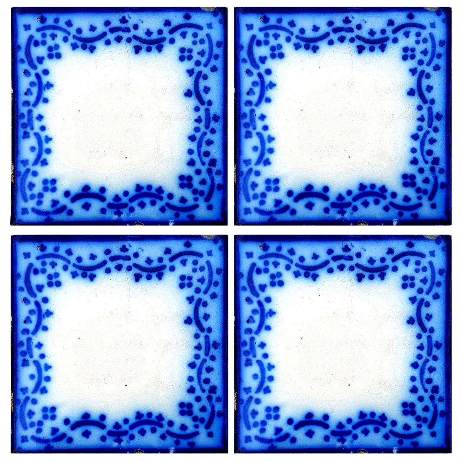 Set of 35 Antique Ceramic Tiles by Pas De Calais Desvres, France, circa 1850s