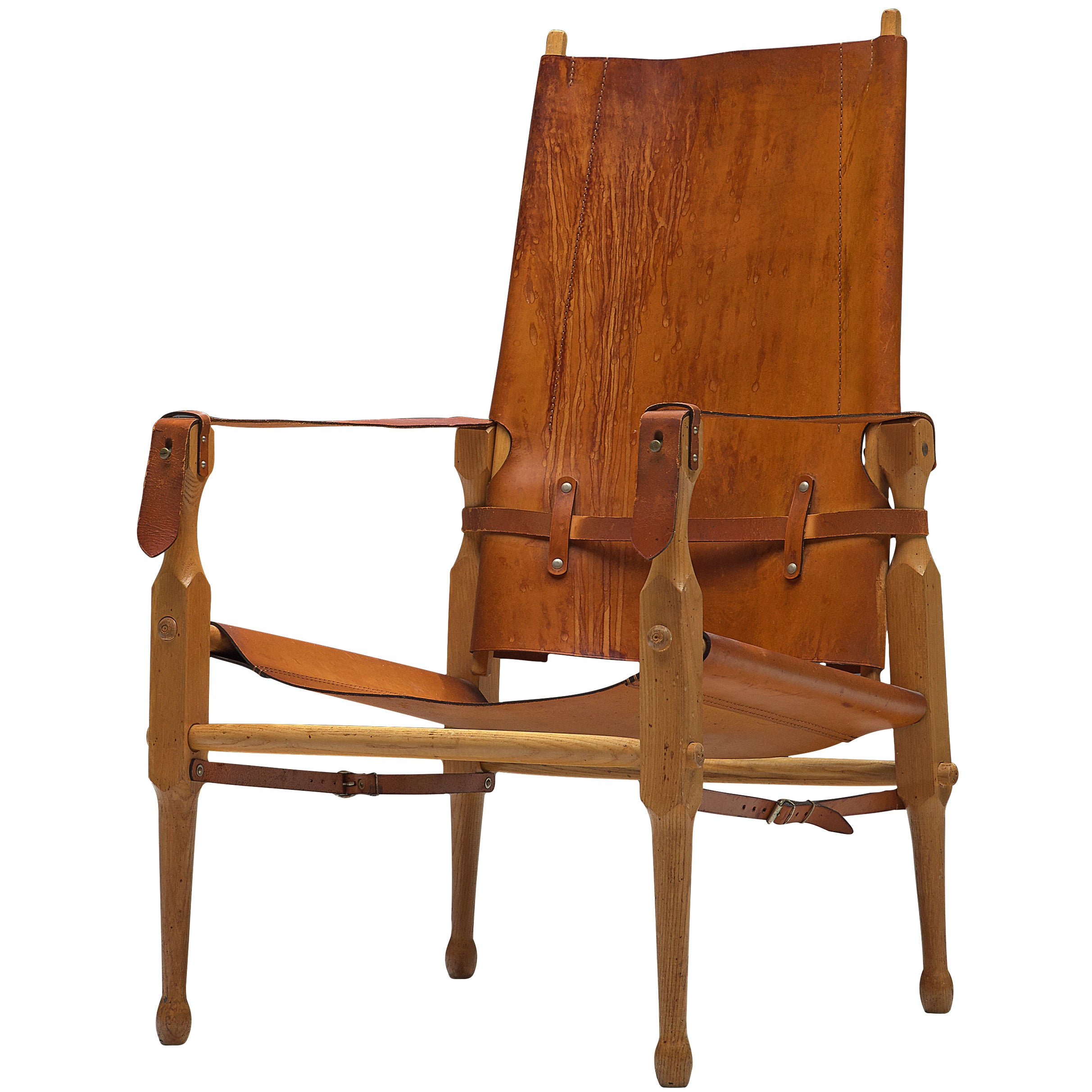 Danish 'Safari' Lounge Chair in Solid Beech and Cognac Leather