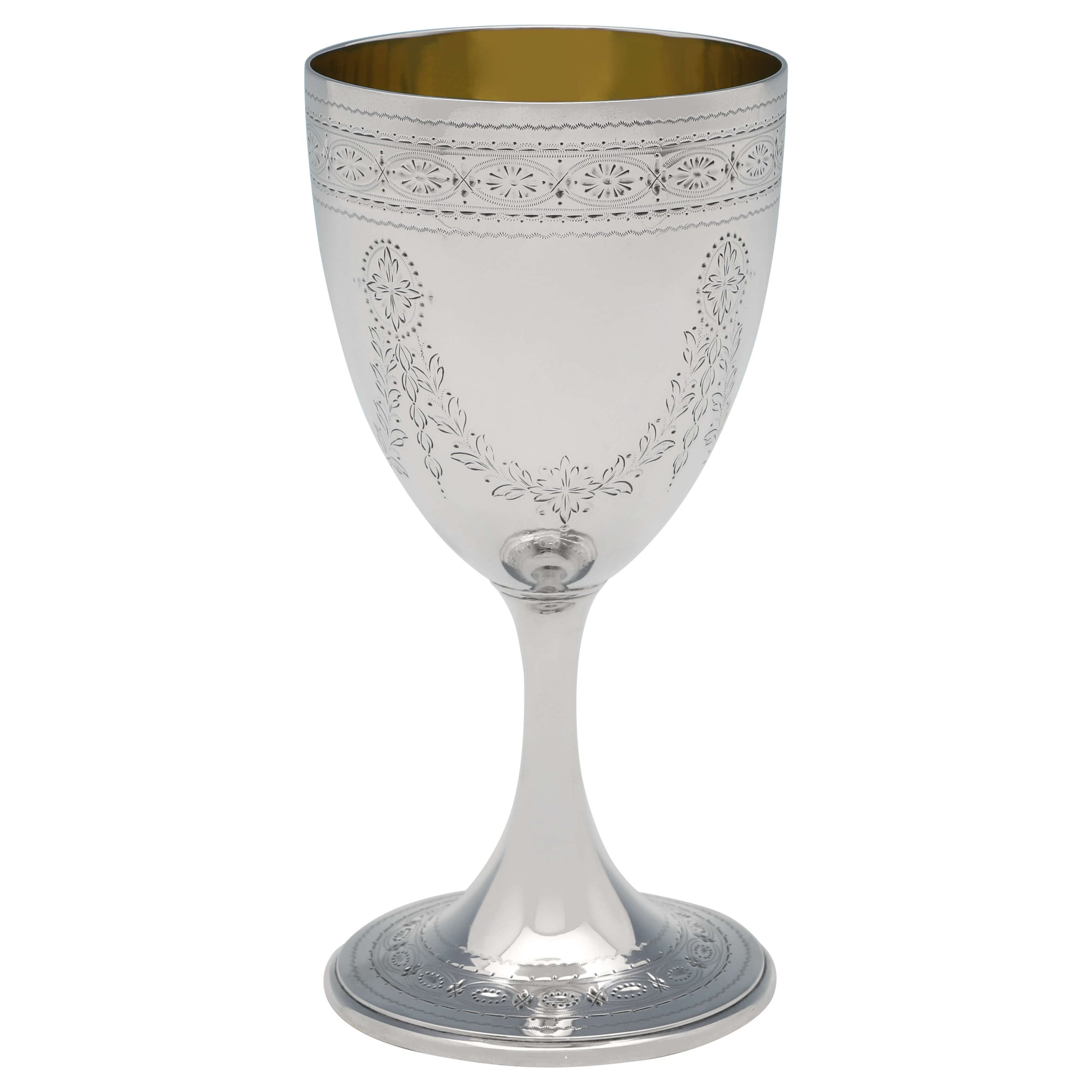 Barnards Victorian Engraved Sterling Silver Goblet, Gilt Interior, 1872