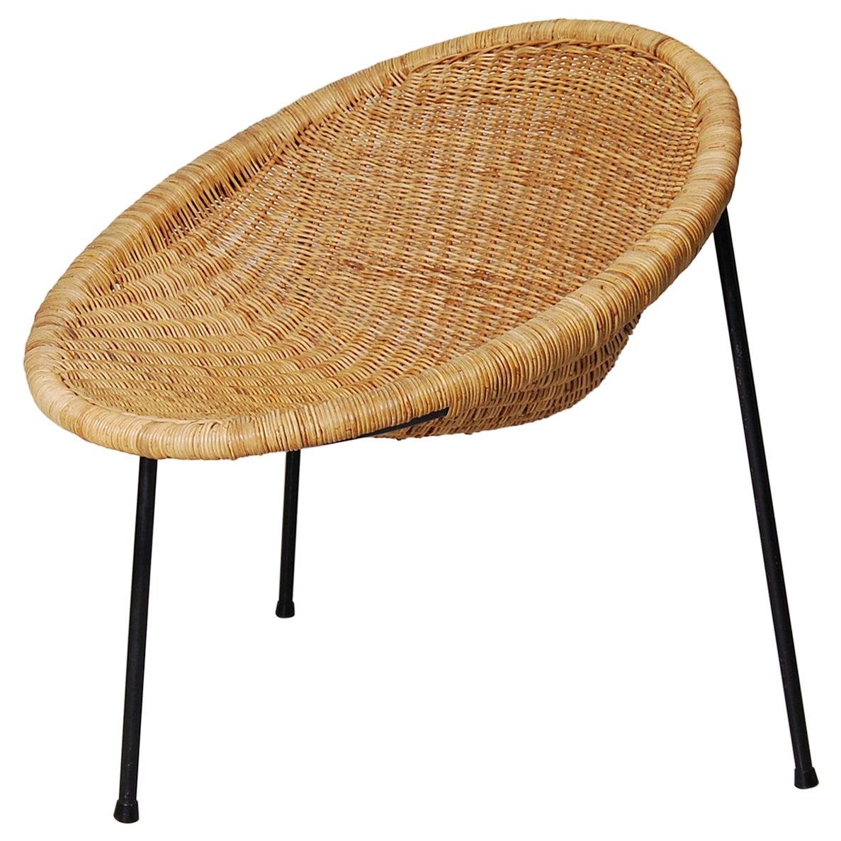 1950s Scandinavian Wicker Bucket / Basket Chair