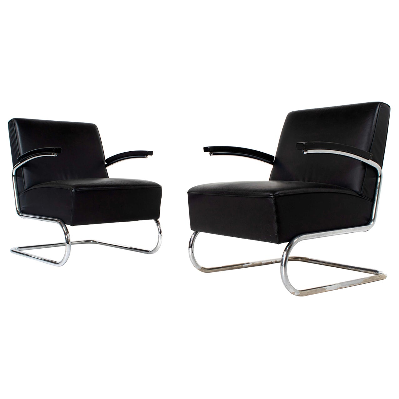 Set of Vintage Thonet Leather Lounge Chairs Model S411