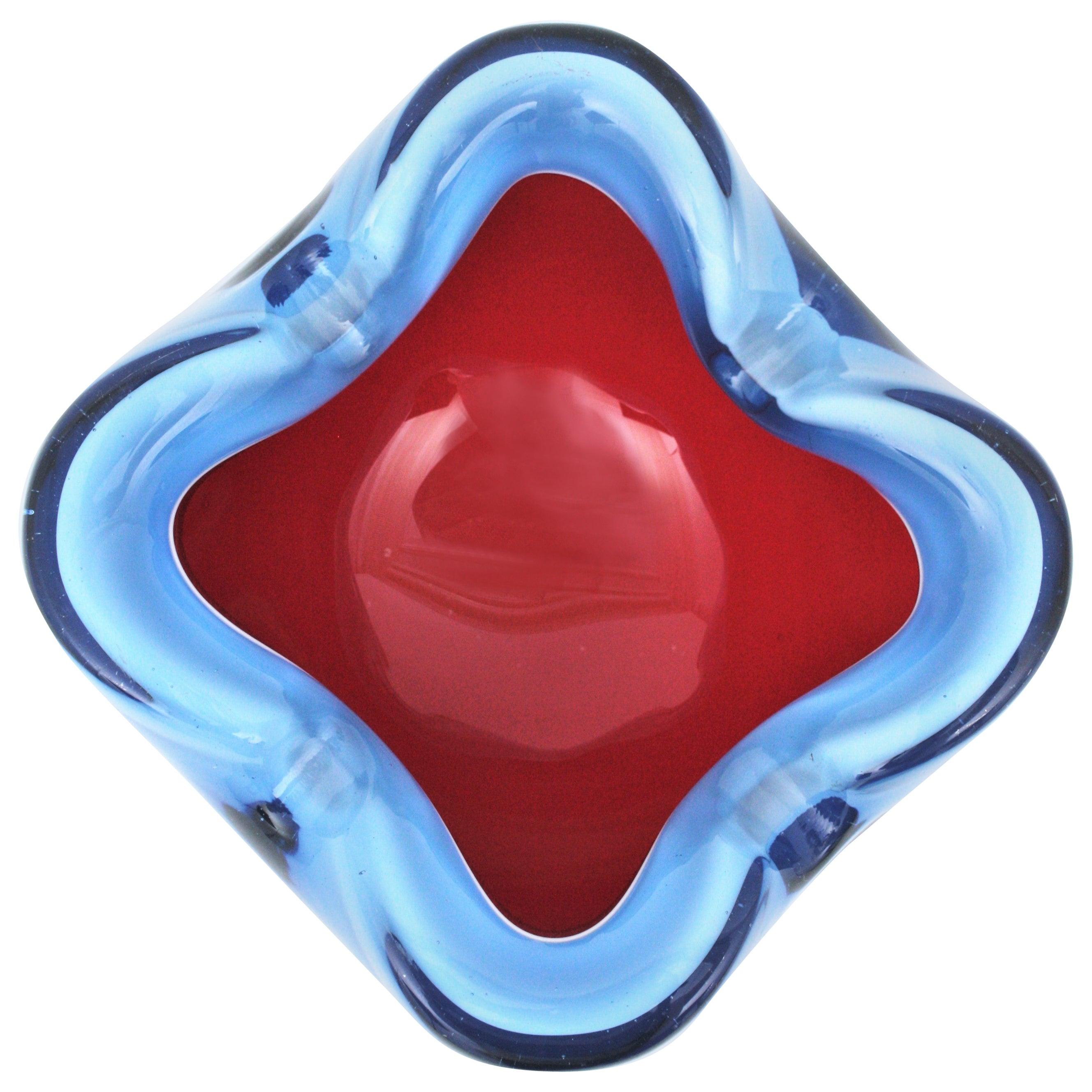 Seguso Murano Sommerso Red Blue Italian Art Glass Bowl / Ashtray