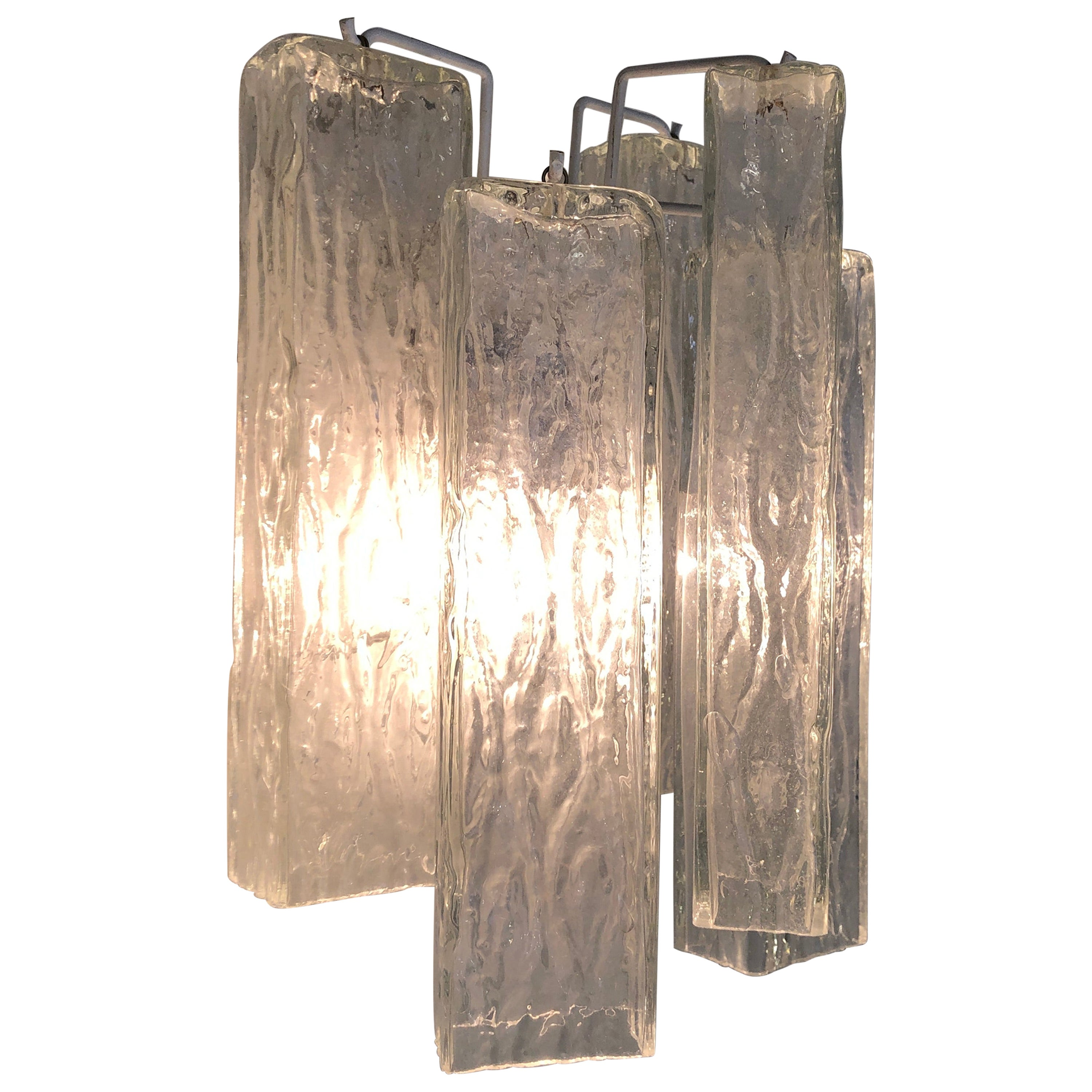 1950s Murano Transparent Artistic Glass Wall Sconces