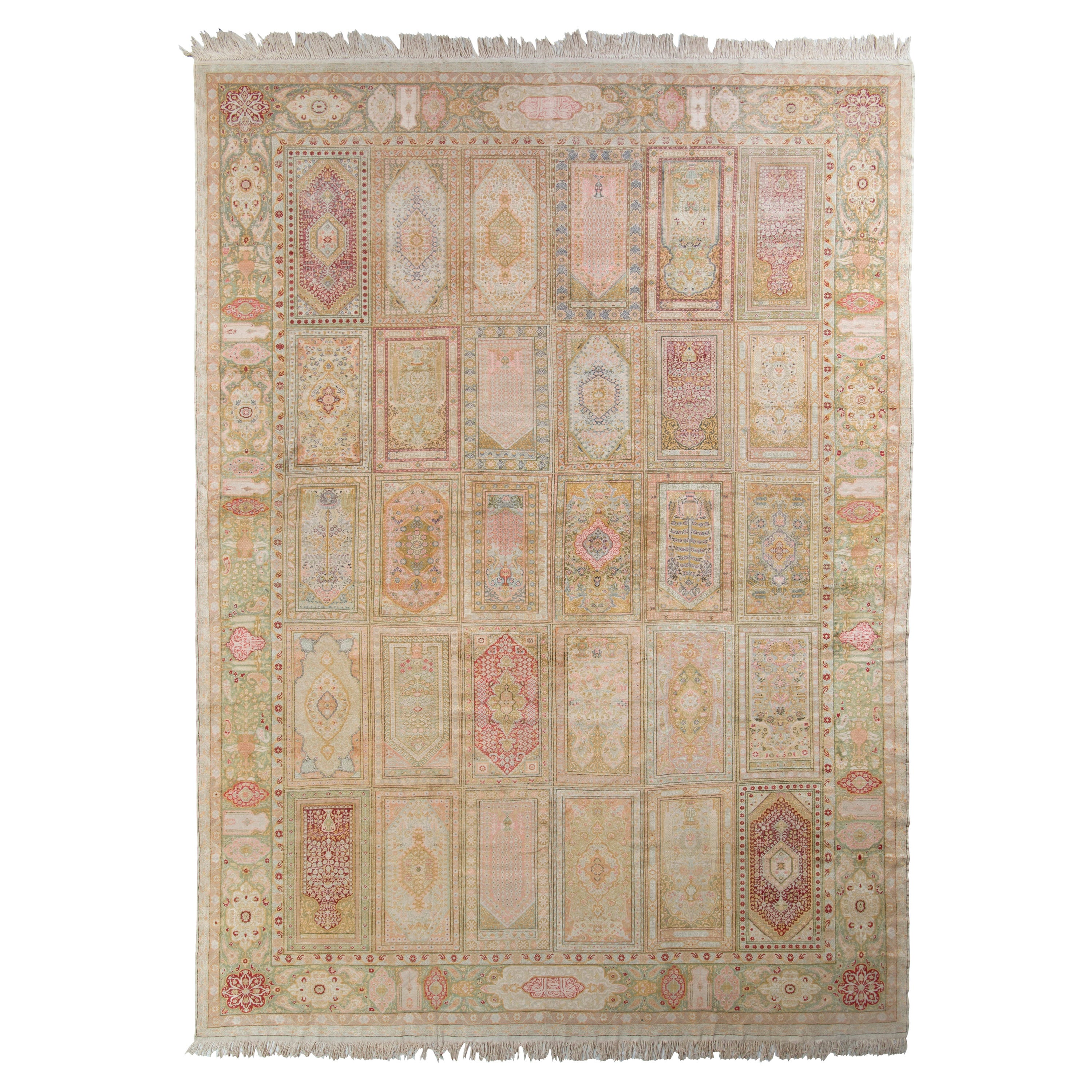 Hand Knotted Antique Hereke Rug in Beige Green and Pink Floral Pattern