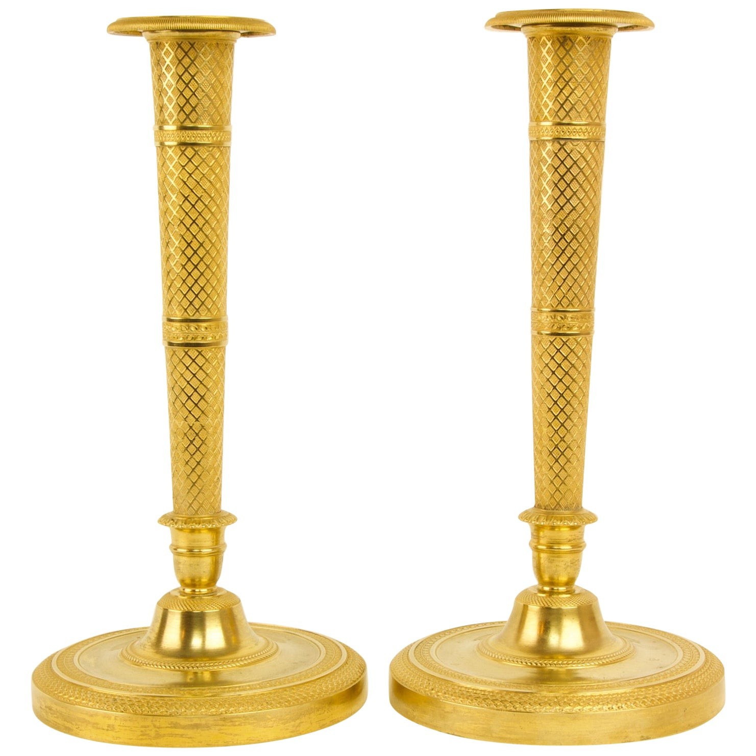 Pair of Early 19th Century French Empire Gilt Bronze Candlesticks after C. Galle