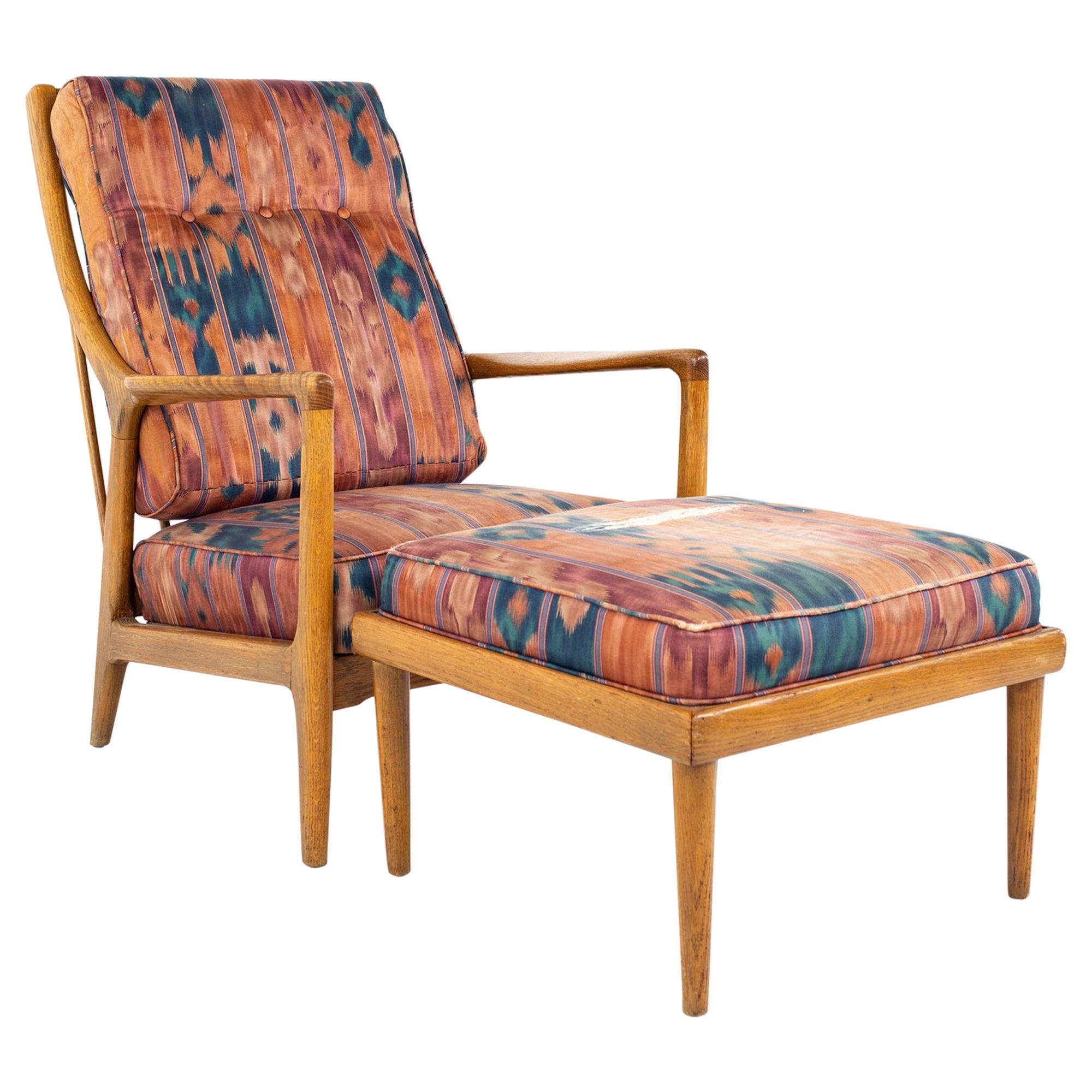 Jack Van der Molen Mid Century Blonde Oak Lounge Chair and Ottoman