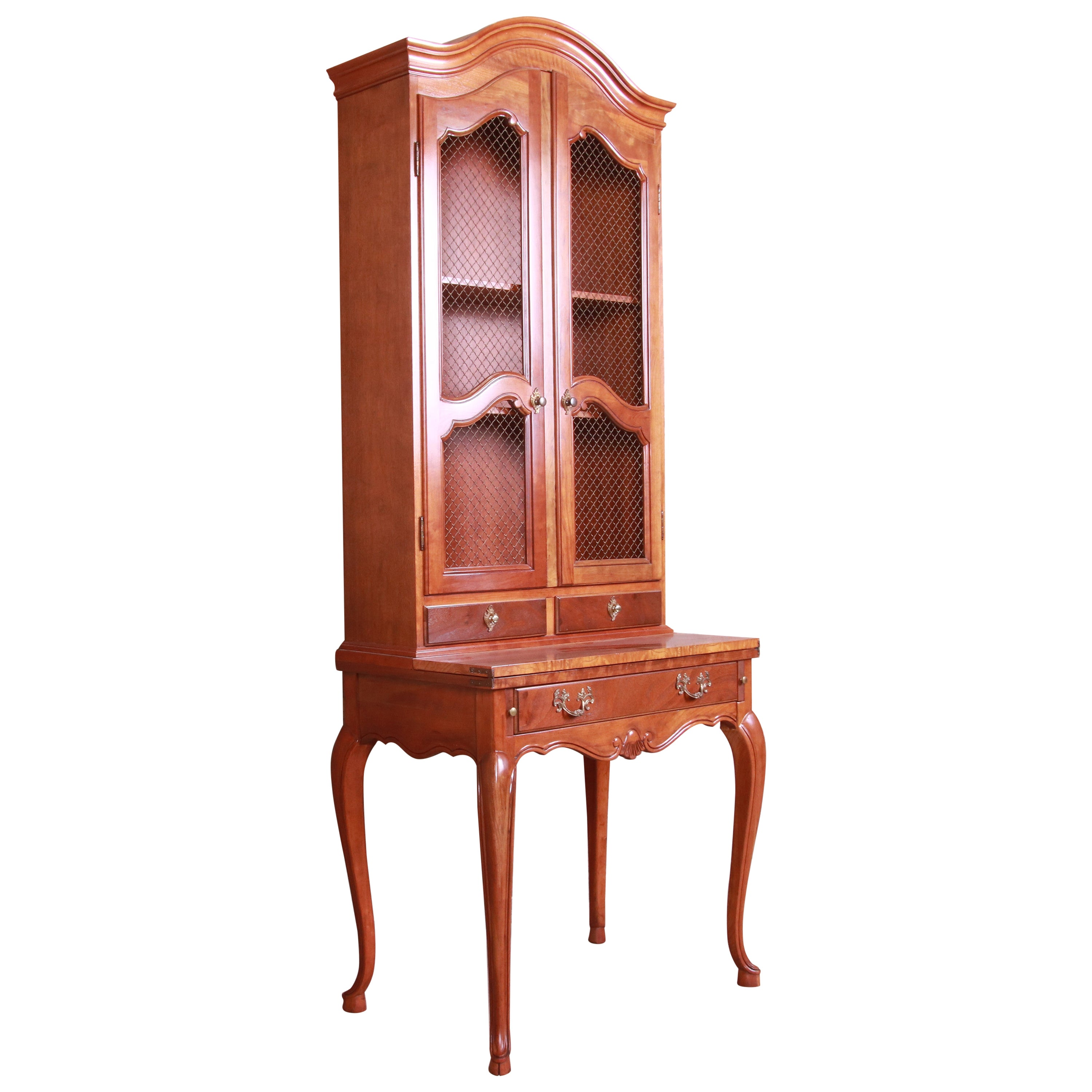 Baker Furniture French Provincial Cherrywood Secretary Desk with Bookcase Hutch