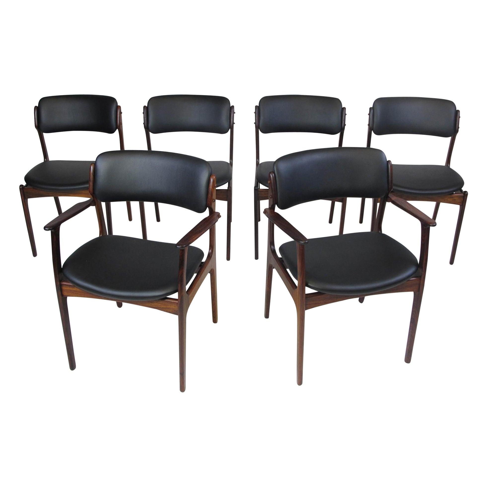 6 Erik Buck Rosewood Danish Dining Chairs in Black Leather