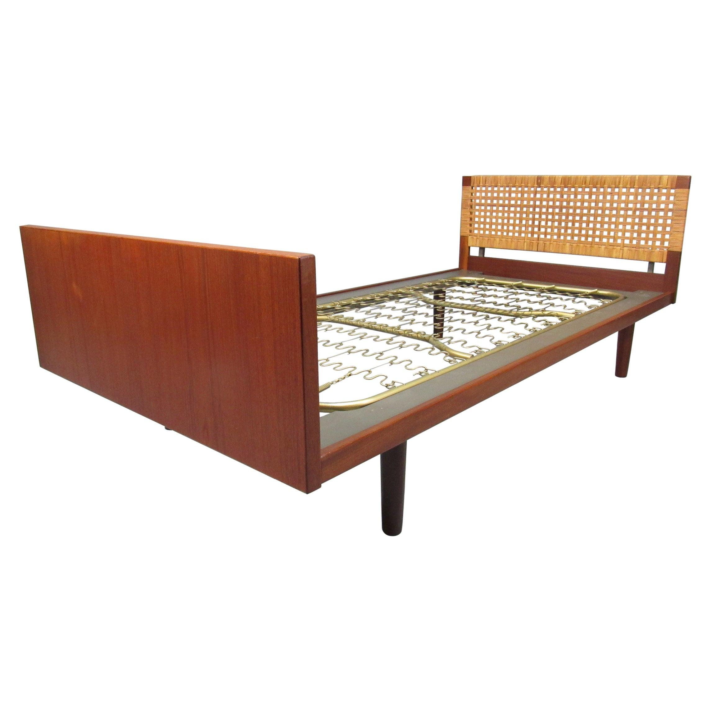 Midcentury 1960s Danish Modern Teak and Cane Bed by Hans Wegner for GETAMA