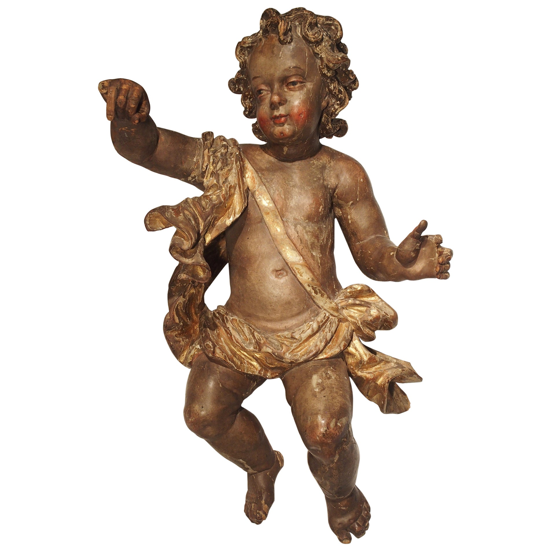 Large 18th Century Polychrome and Giltwood Cherub from Italy