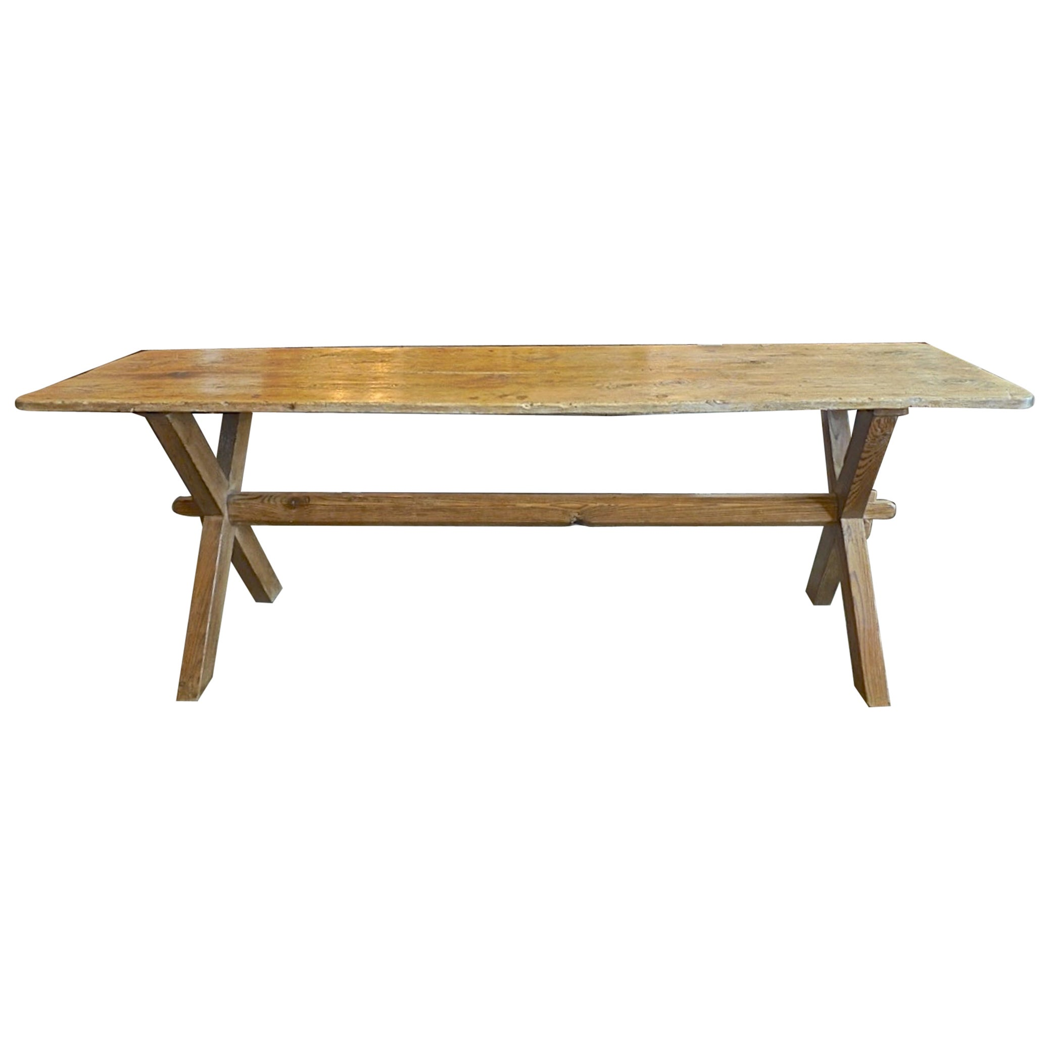 English 19th Century Country Pine Trestle Console Table