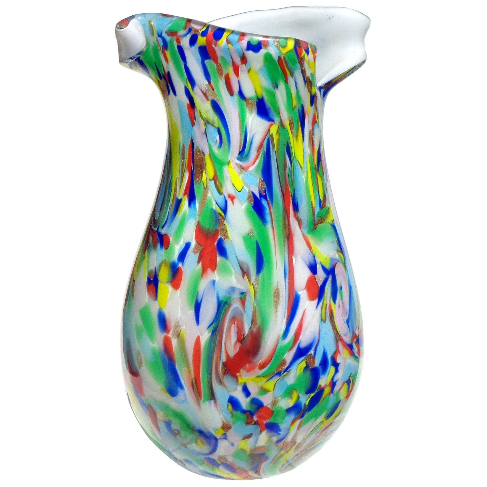 Fratelli Toso Murano Rainbow Color Swirl Italian Art Glass Flower Twist Rim Vase