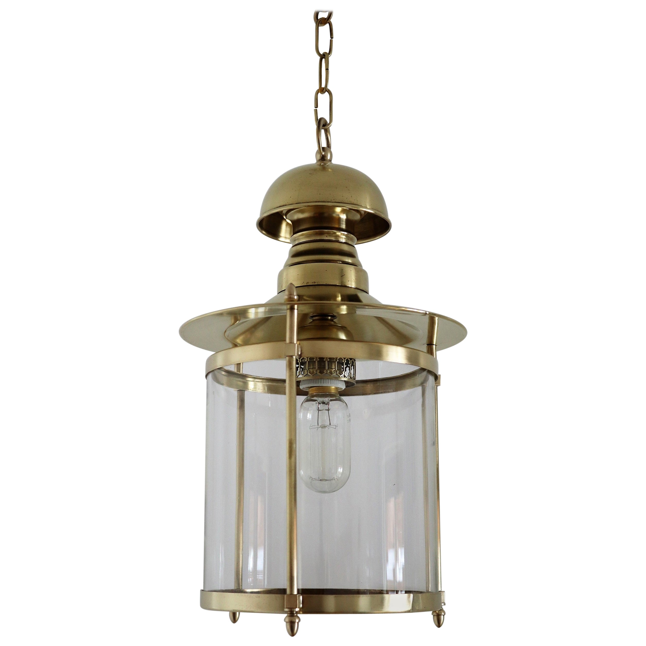 Italian Midcentury Brass and Glass Pendant Lamp or Lantern, 1970s