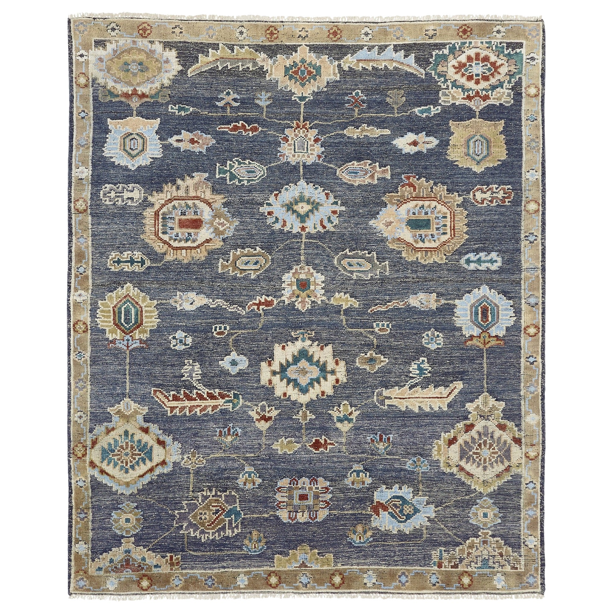 Large Hand Knotted Rug Contemporary in Style of Oushak Blue Kilim